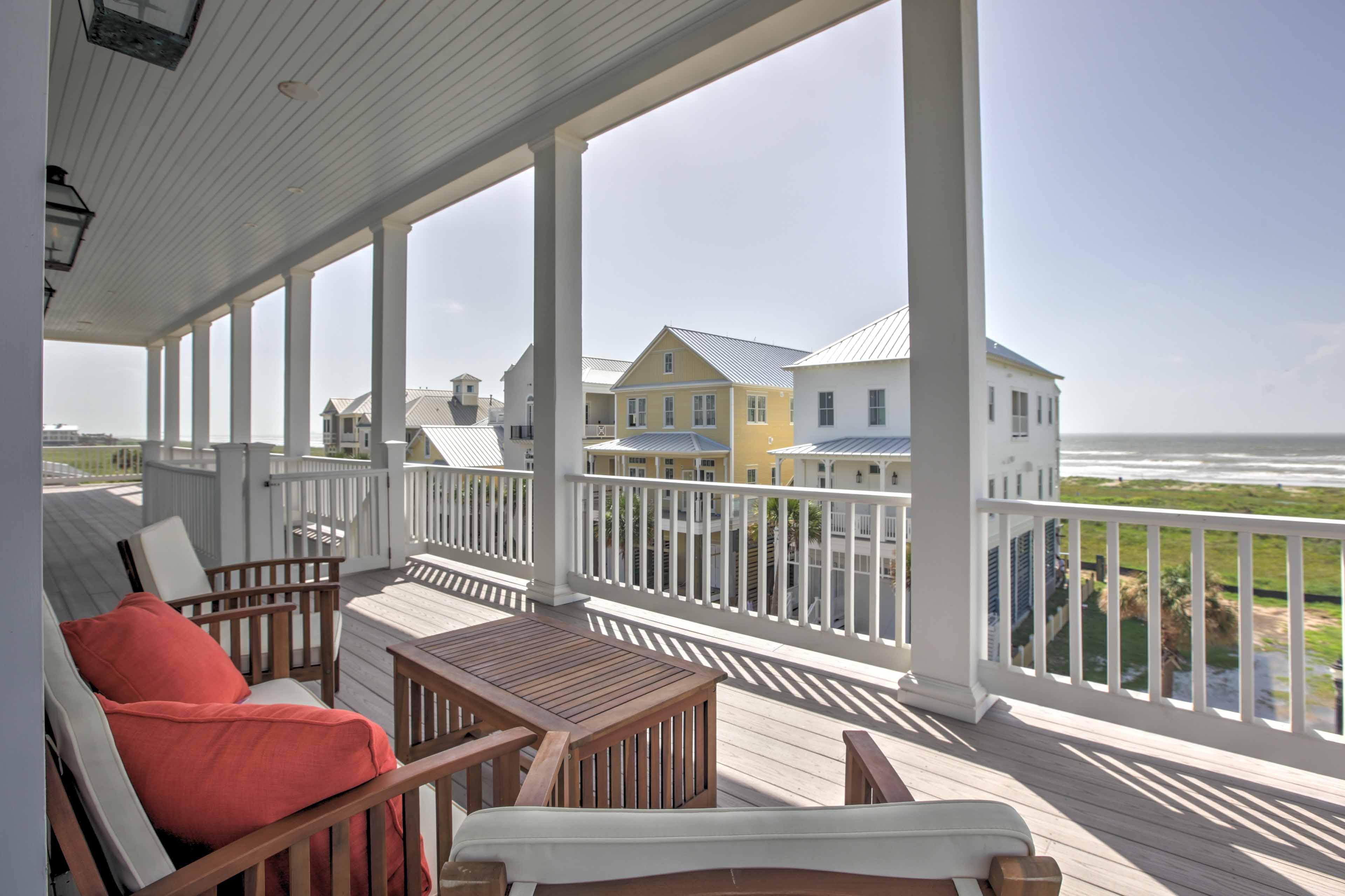 The wraparound balcony offers 360-degree views of the island!
