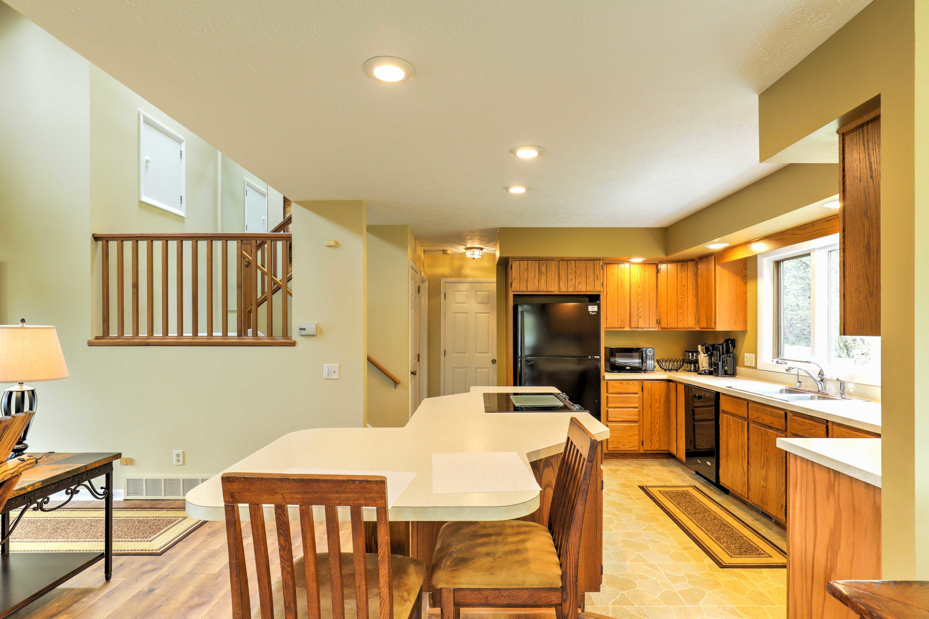 The open kitchen is great for entertaining.
