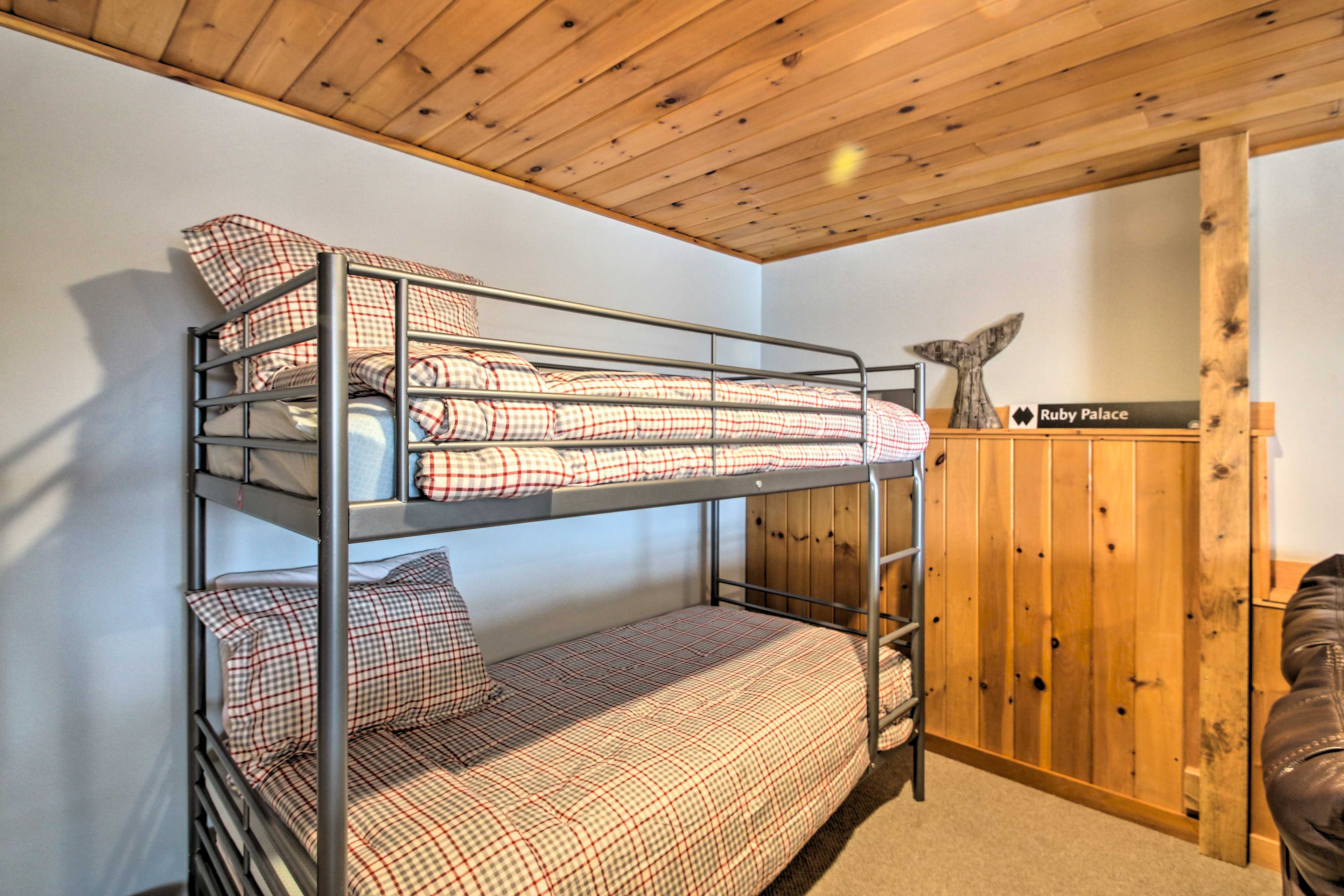 Your kids will enjoy the twin-over-twin bunk bed.