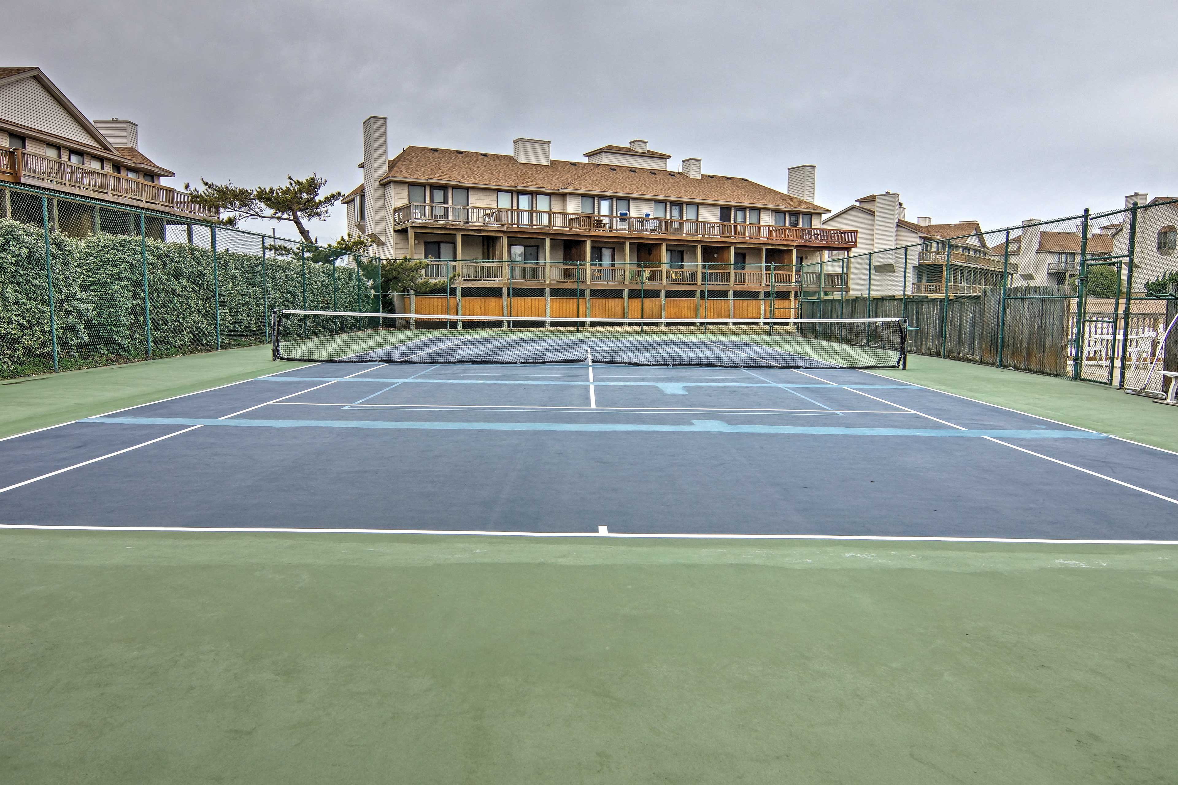 Enjoy a friendly game of tennis or basketball at Sea Dunes!