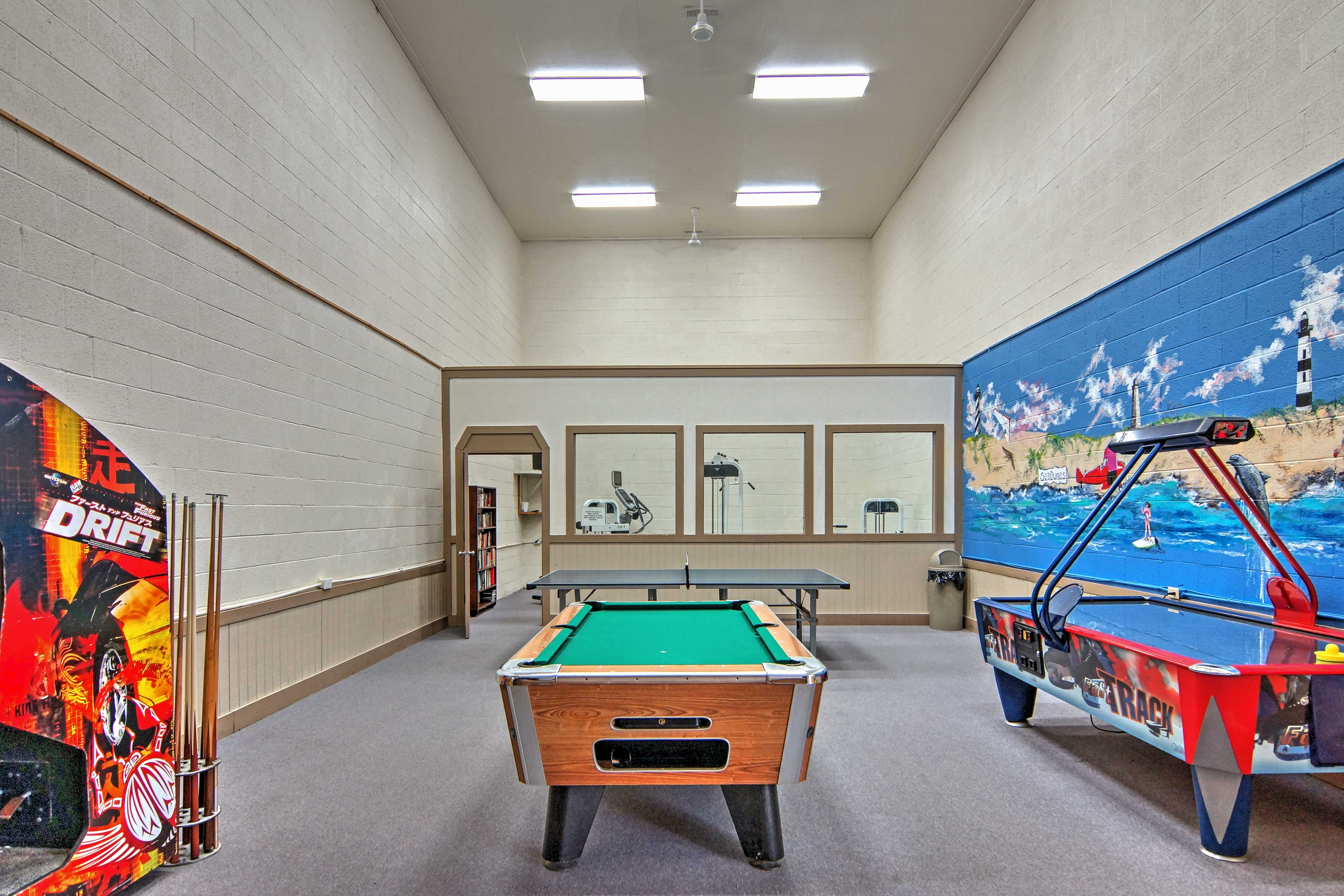 Check out the rec room with various games including pool and air-hockey.