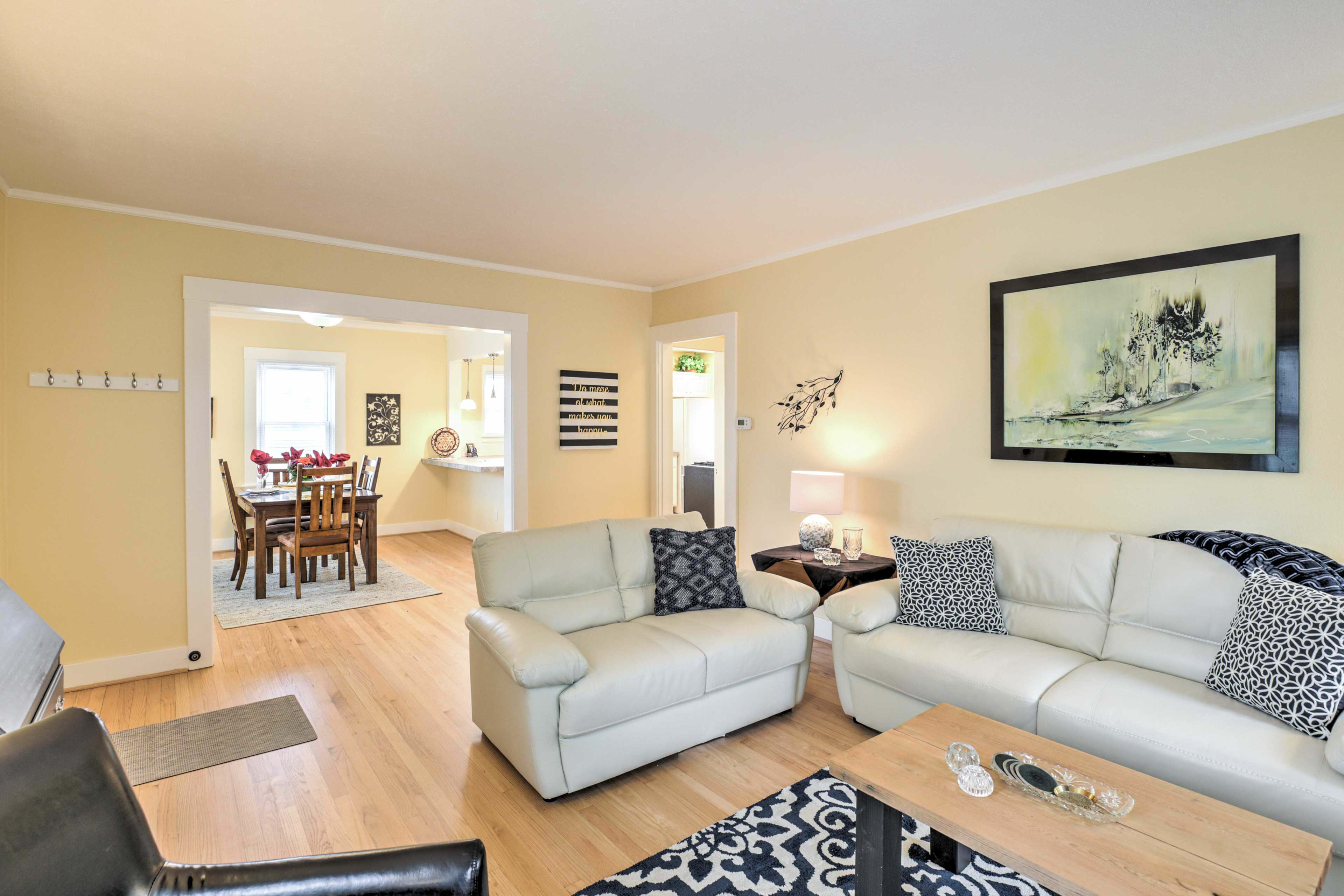 Gather with your loved ones in the cozy living room.