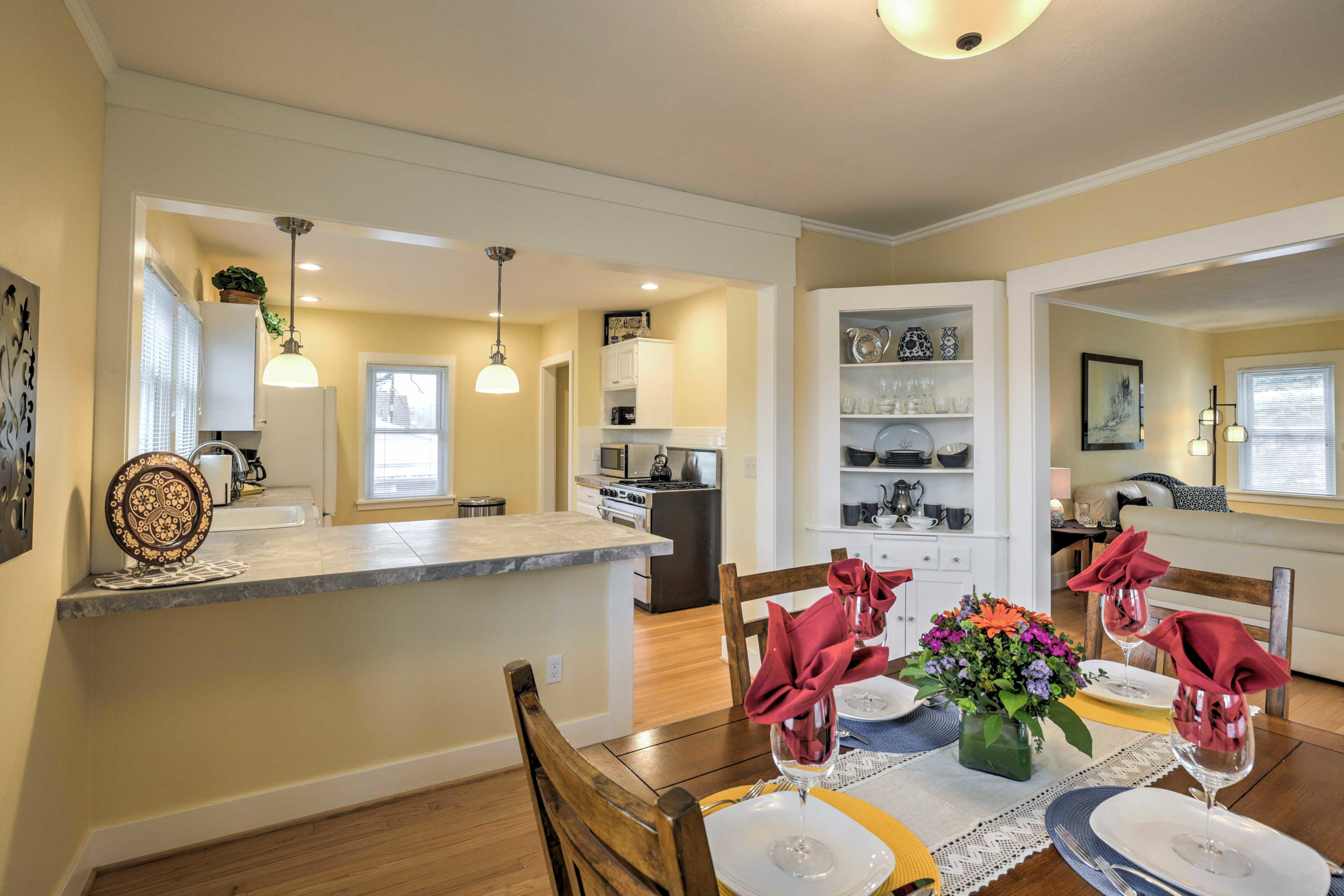 The spacious kitchen opens up to the dining area.