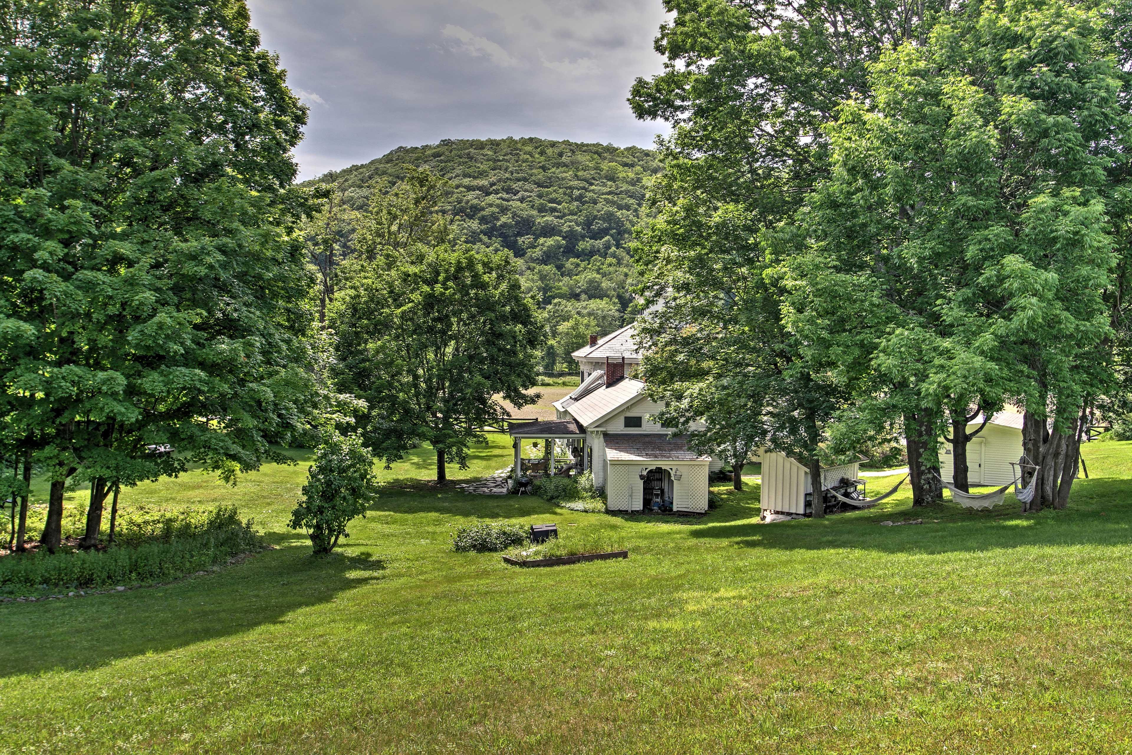 The home is situated on a large grassy lot offering pleasant vibrant views.