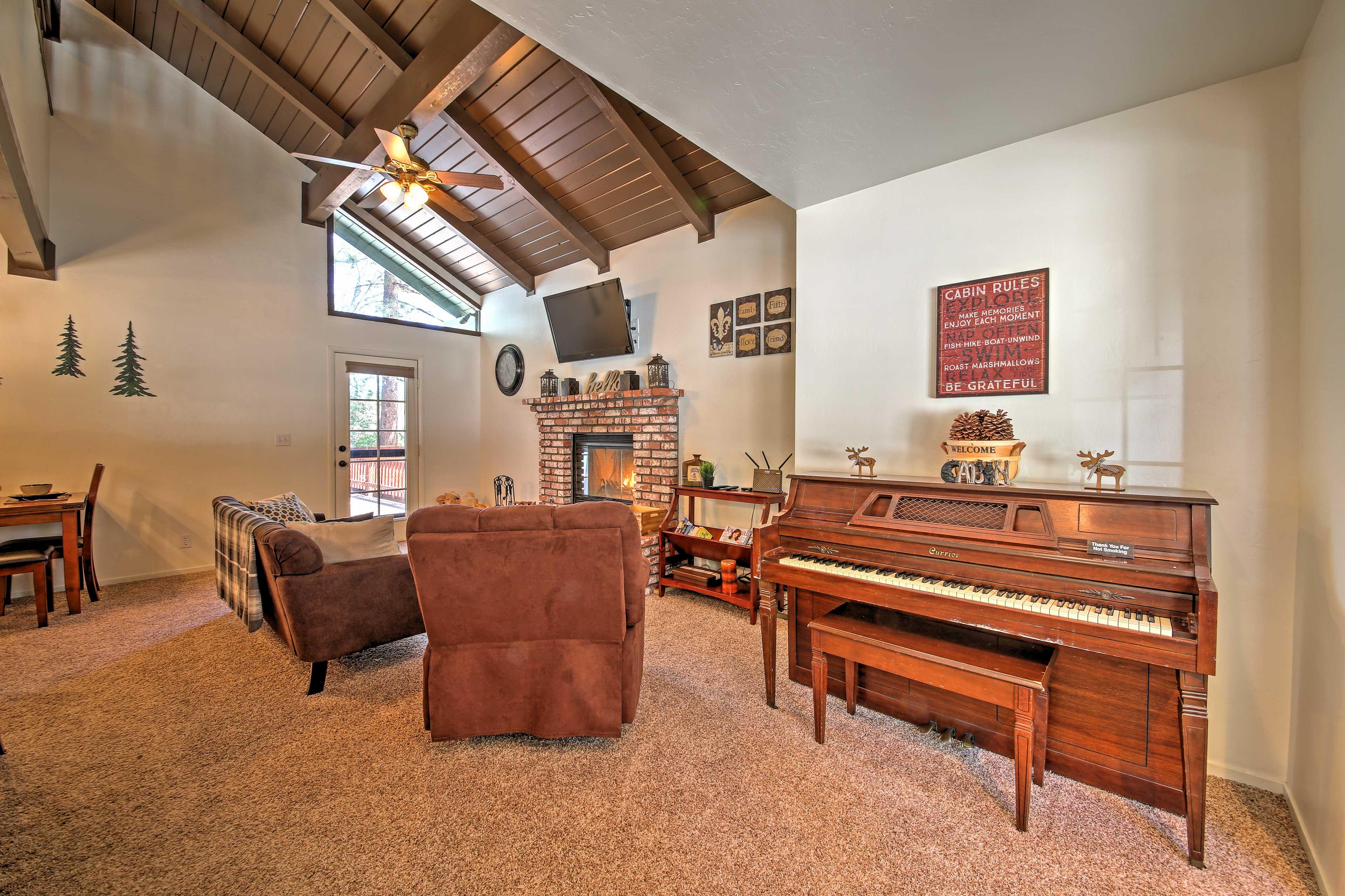 Rustic decor adorns the walls of the interior.