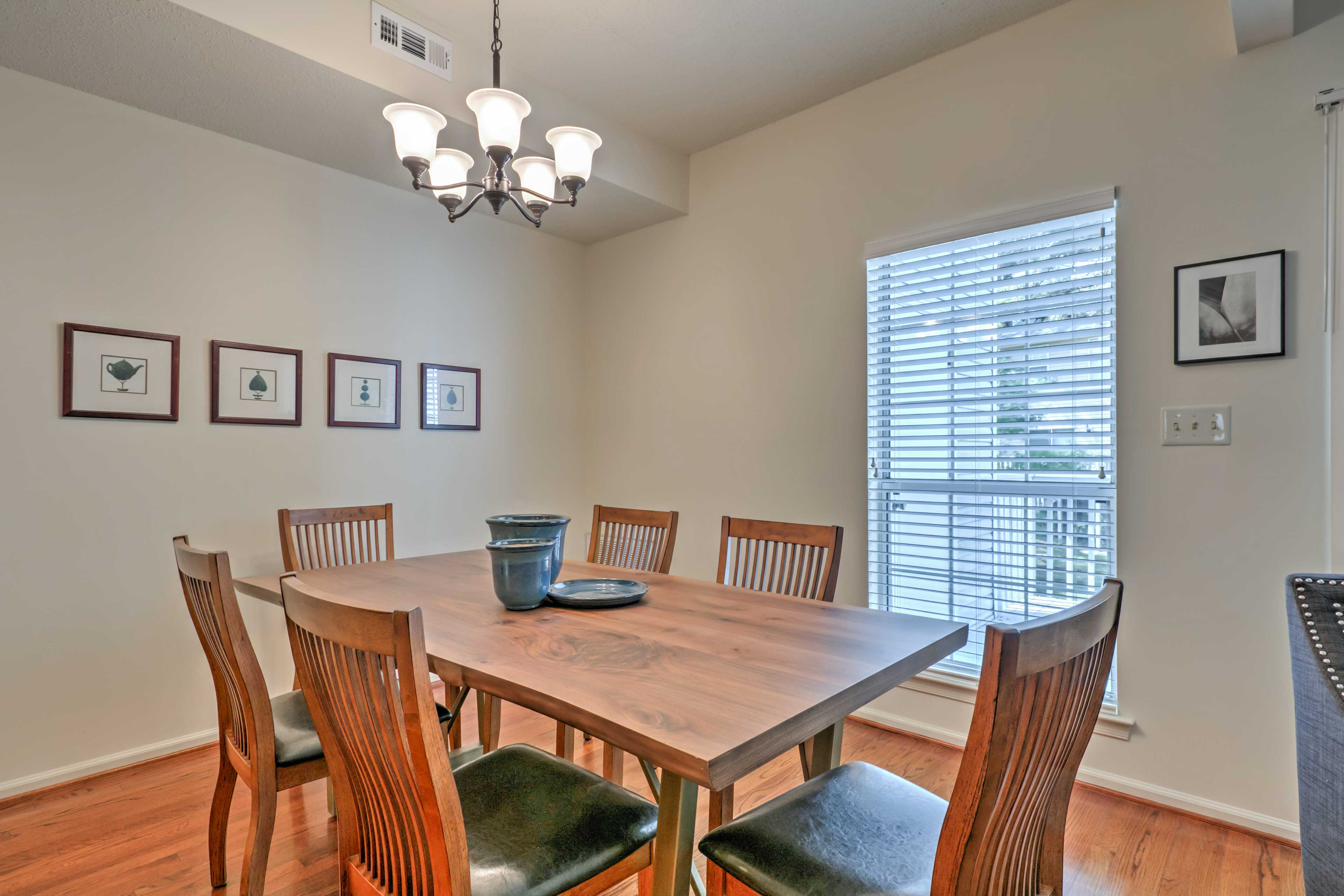 Enjoy quality time together at the dining table set for 6.