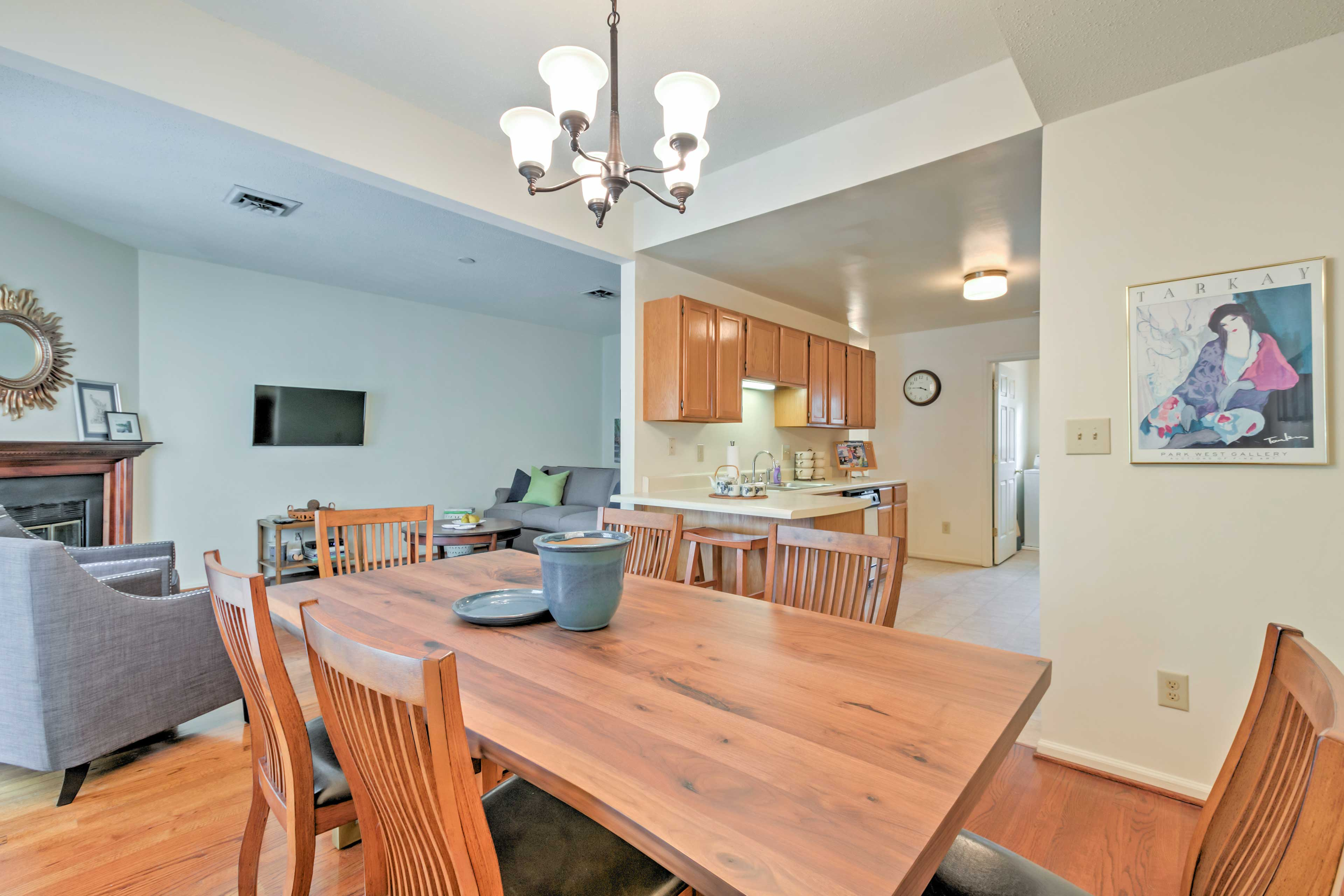 Adjacent to the dining area is the kitchen.