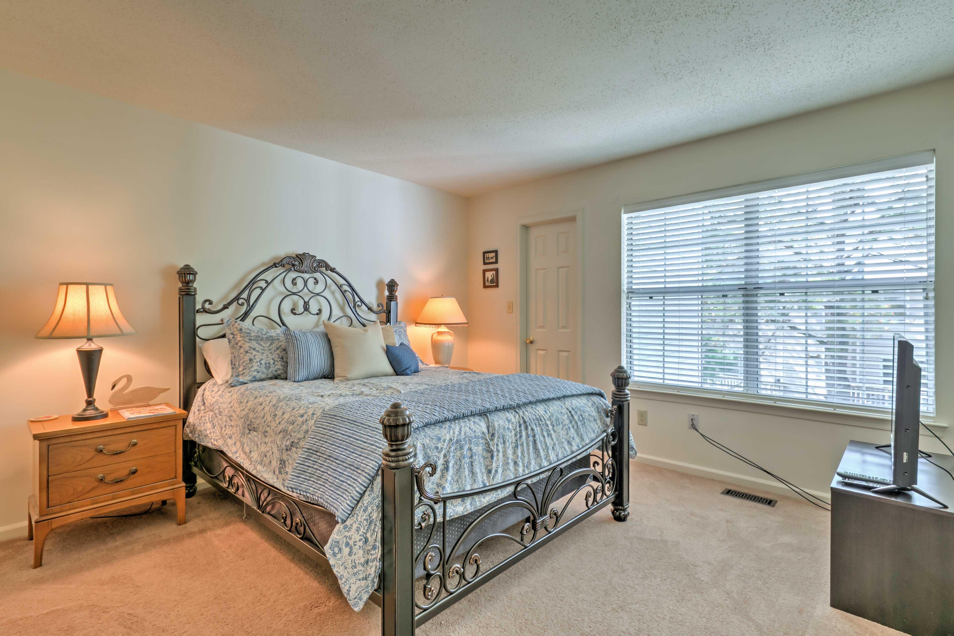 Savor uninterrupted nights of sleep in the cozy master bedroom.