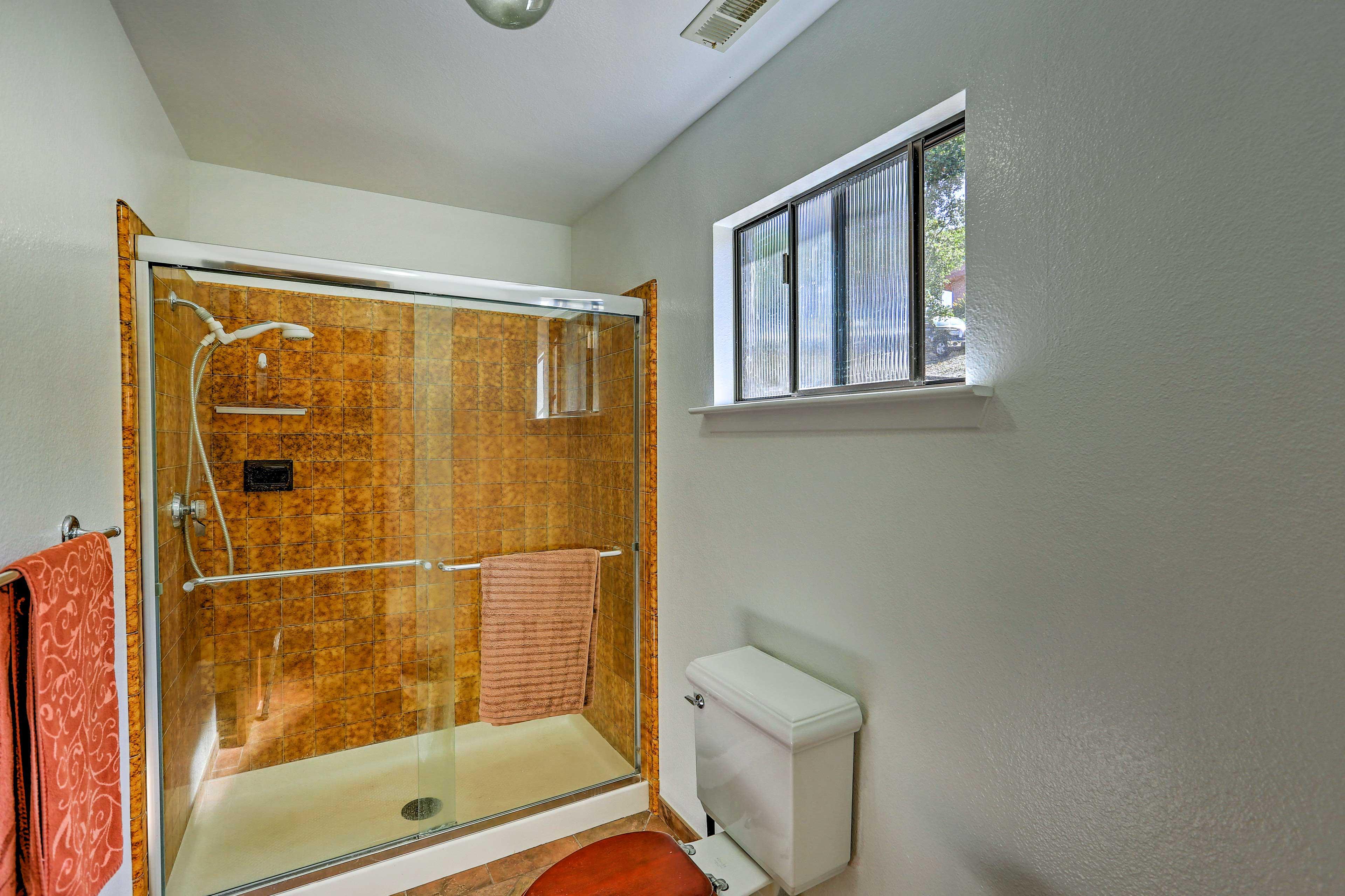 Rinse off the salt water in the walk-in shower.