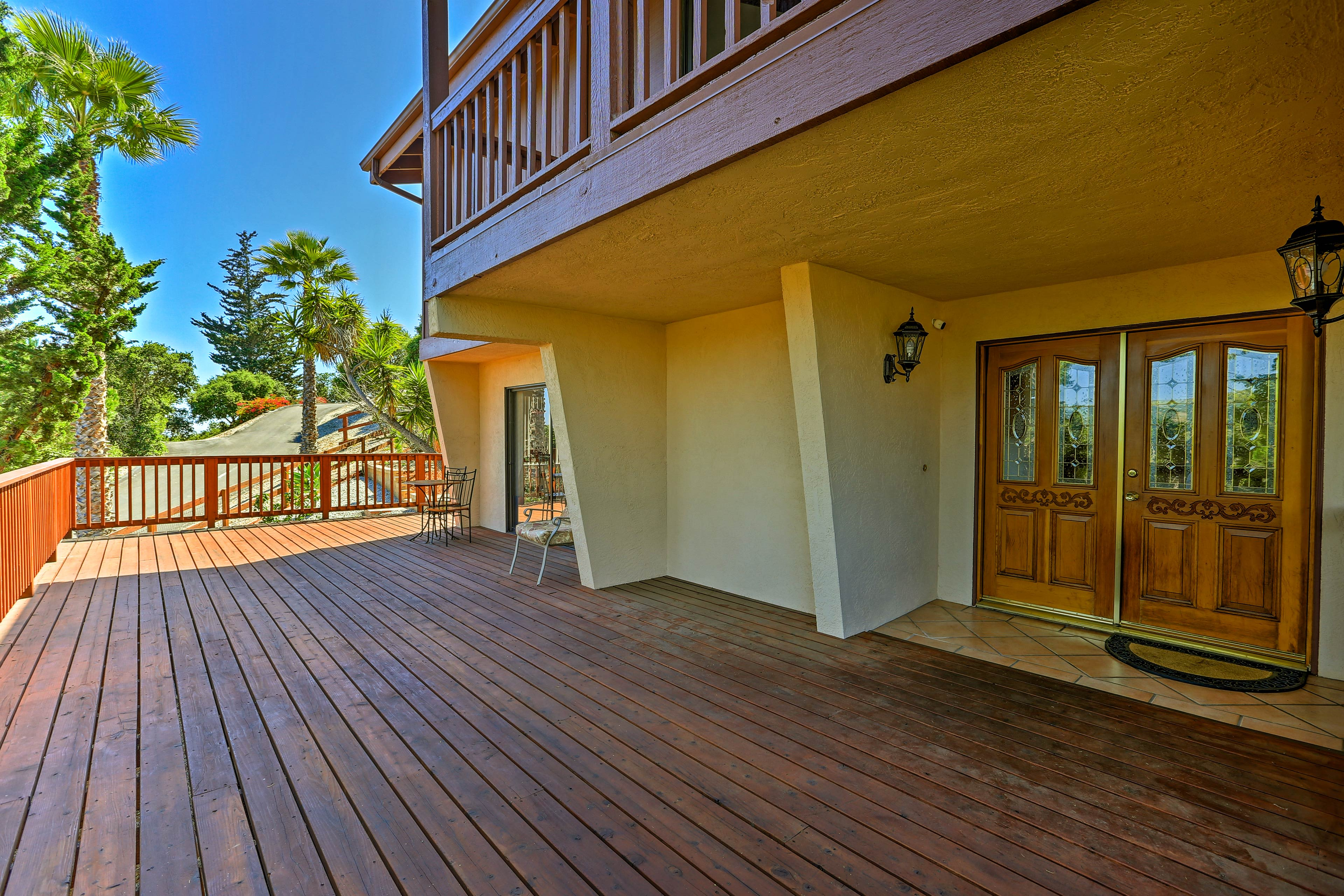 You'll love greeting the day on this redwood deck.