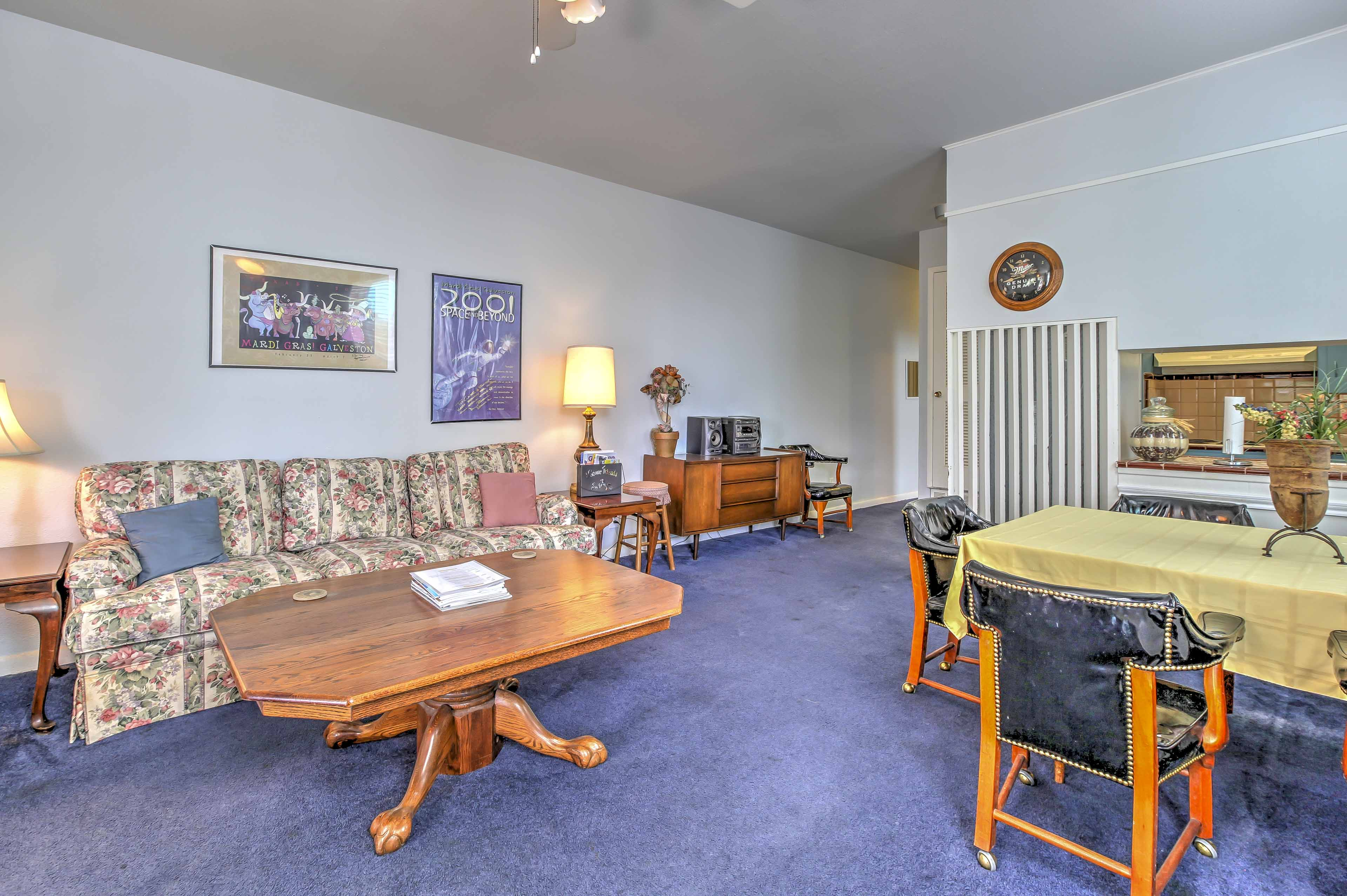 The living room offers comfortable seating.