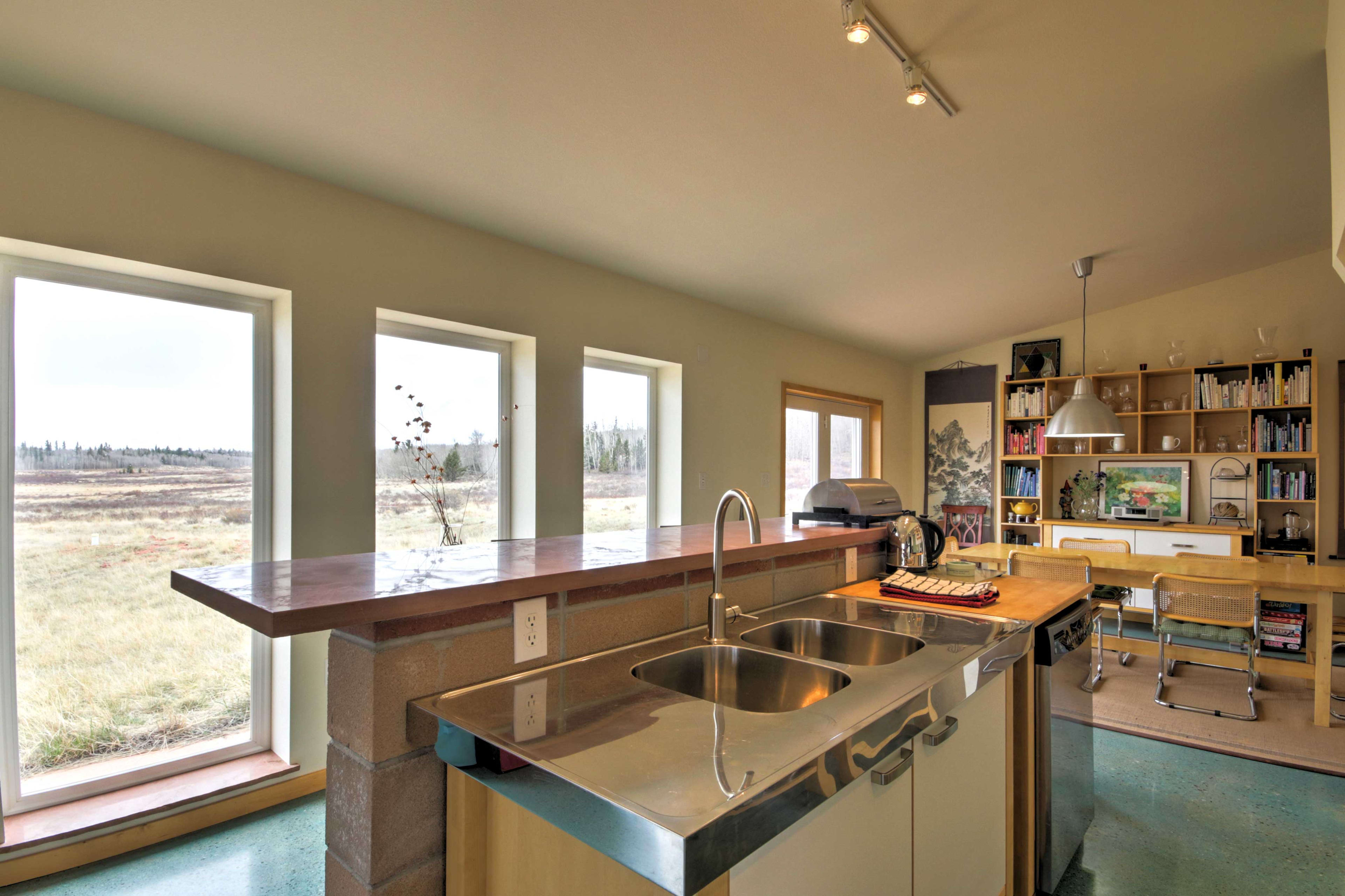 Large windows provide plenty of natural light & wonderful views of the meadow.