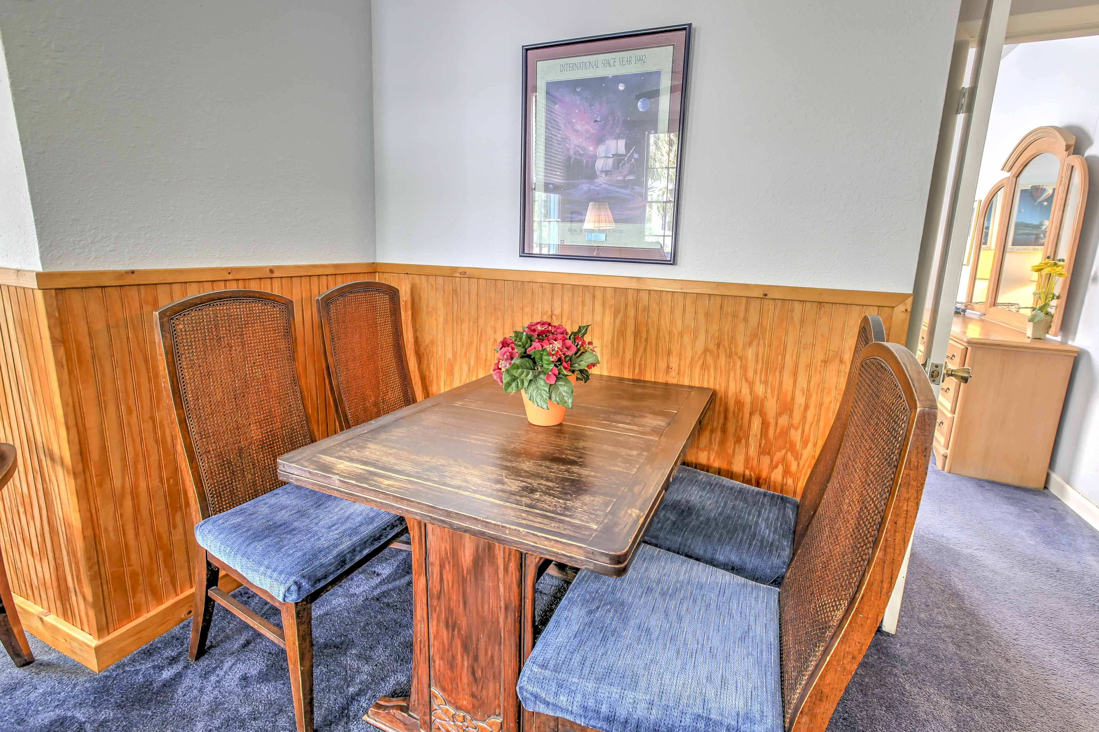 Share a meal at the 4-person table.