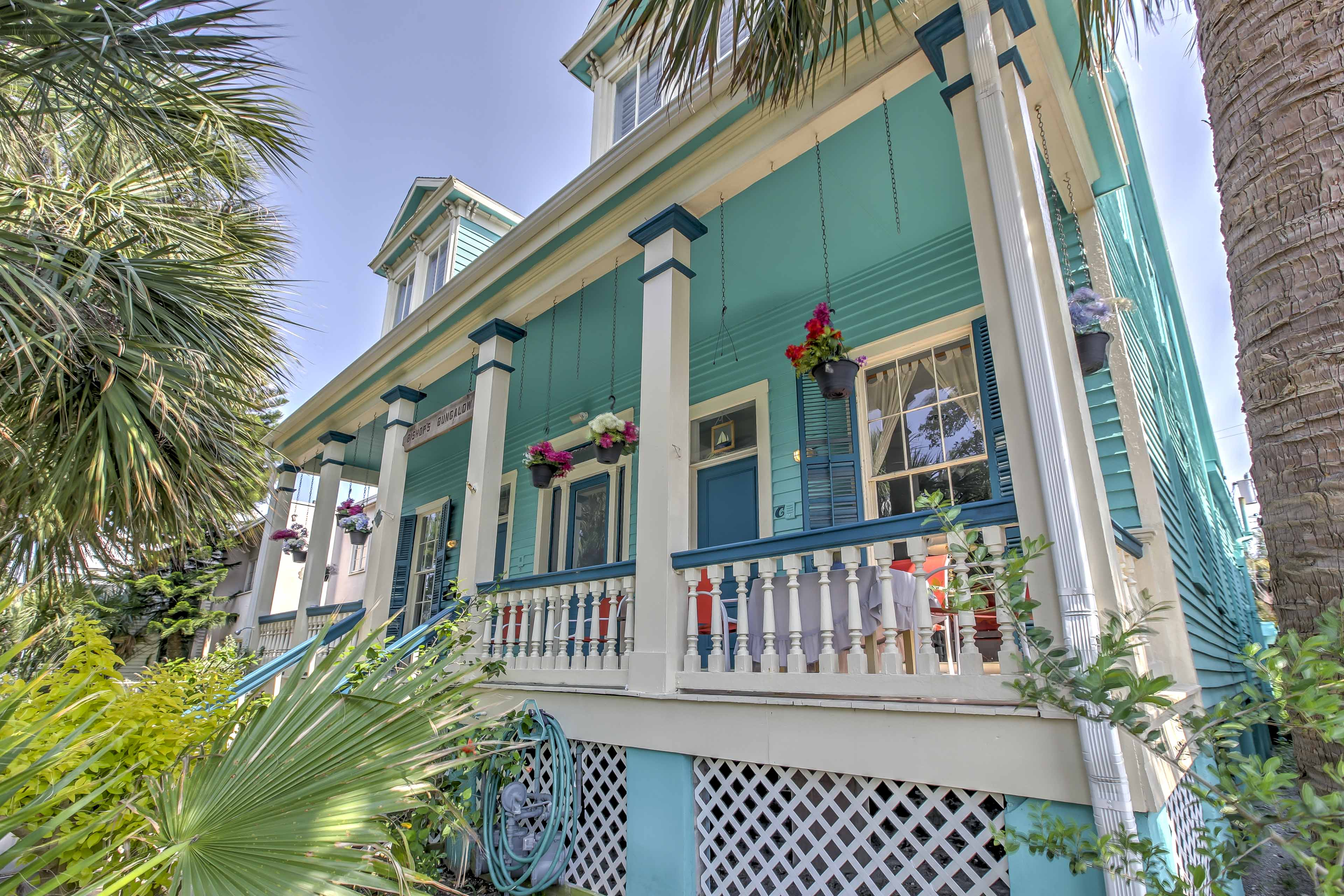 Galveston's white sandy beaches are just 6 blocks away from Bishop's Bungalow!