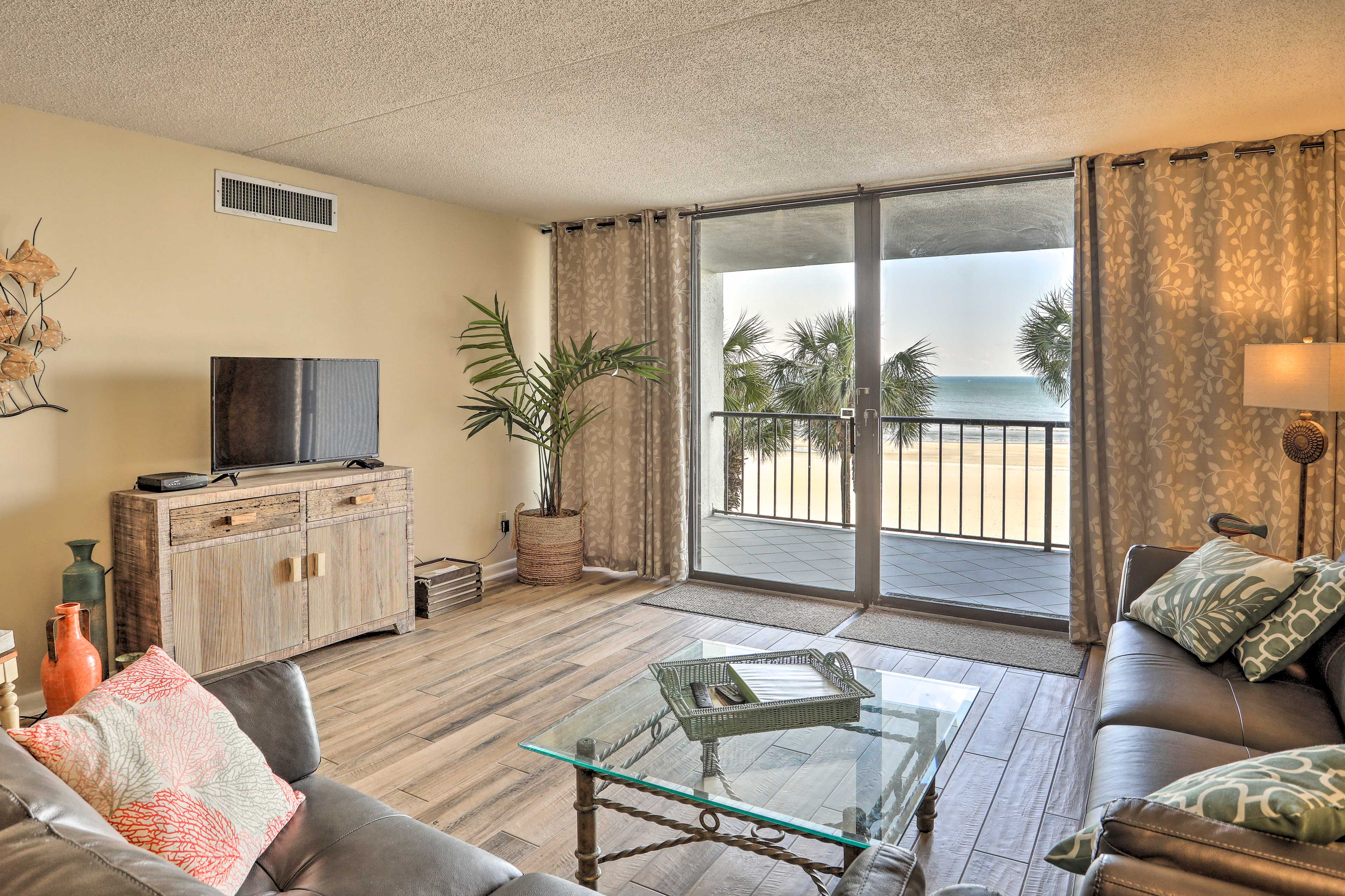 Ocean views flourish throughout the vacation rental's light and airy interior.