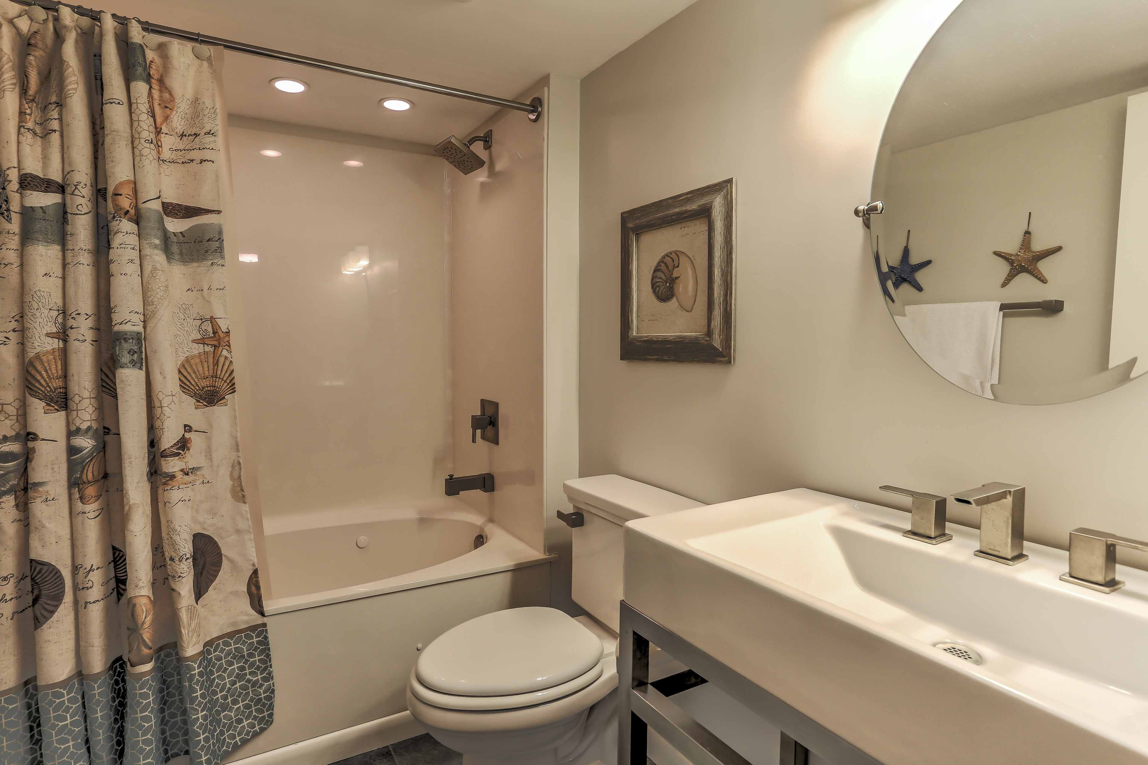 Take a hot shower in the shower/tub combo of the second bathroom.