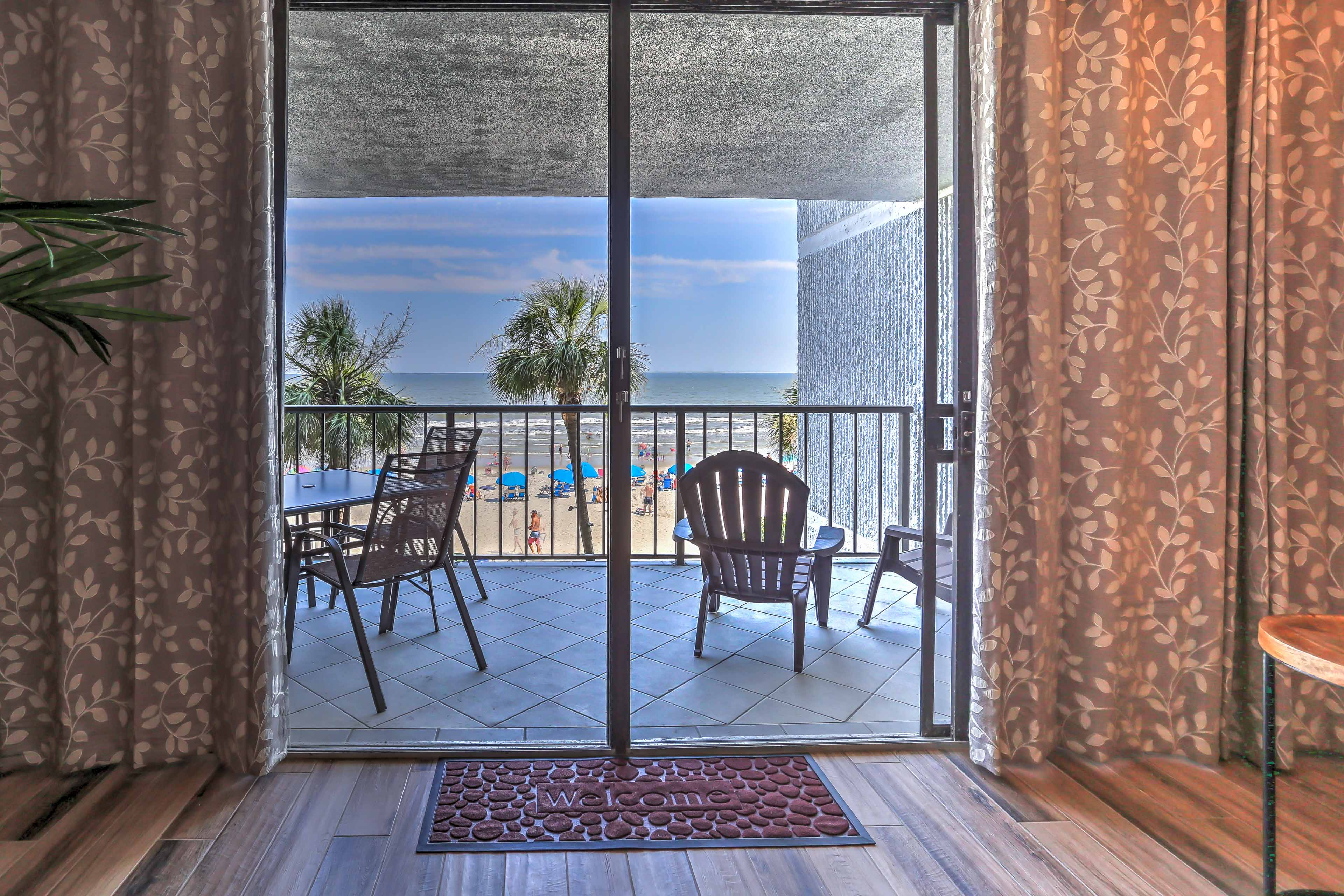 Step onto the private balcony for unrestricted ocean views.