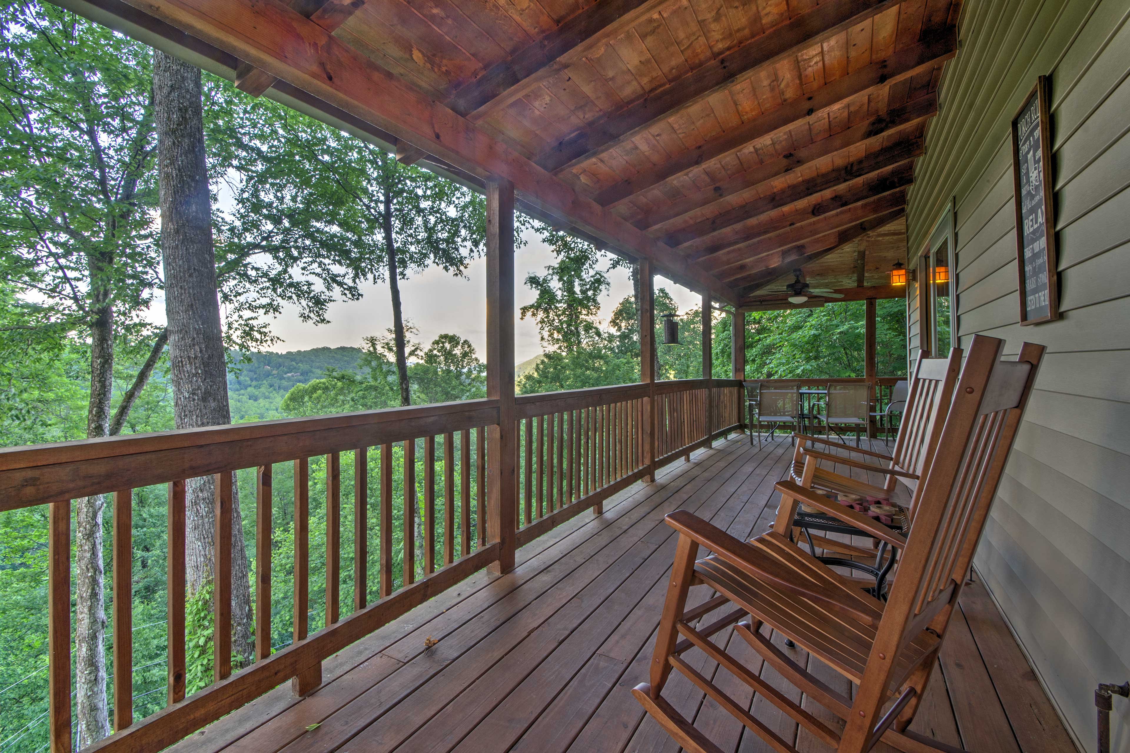 The porch is perfect for relaxing in any season.
