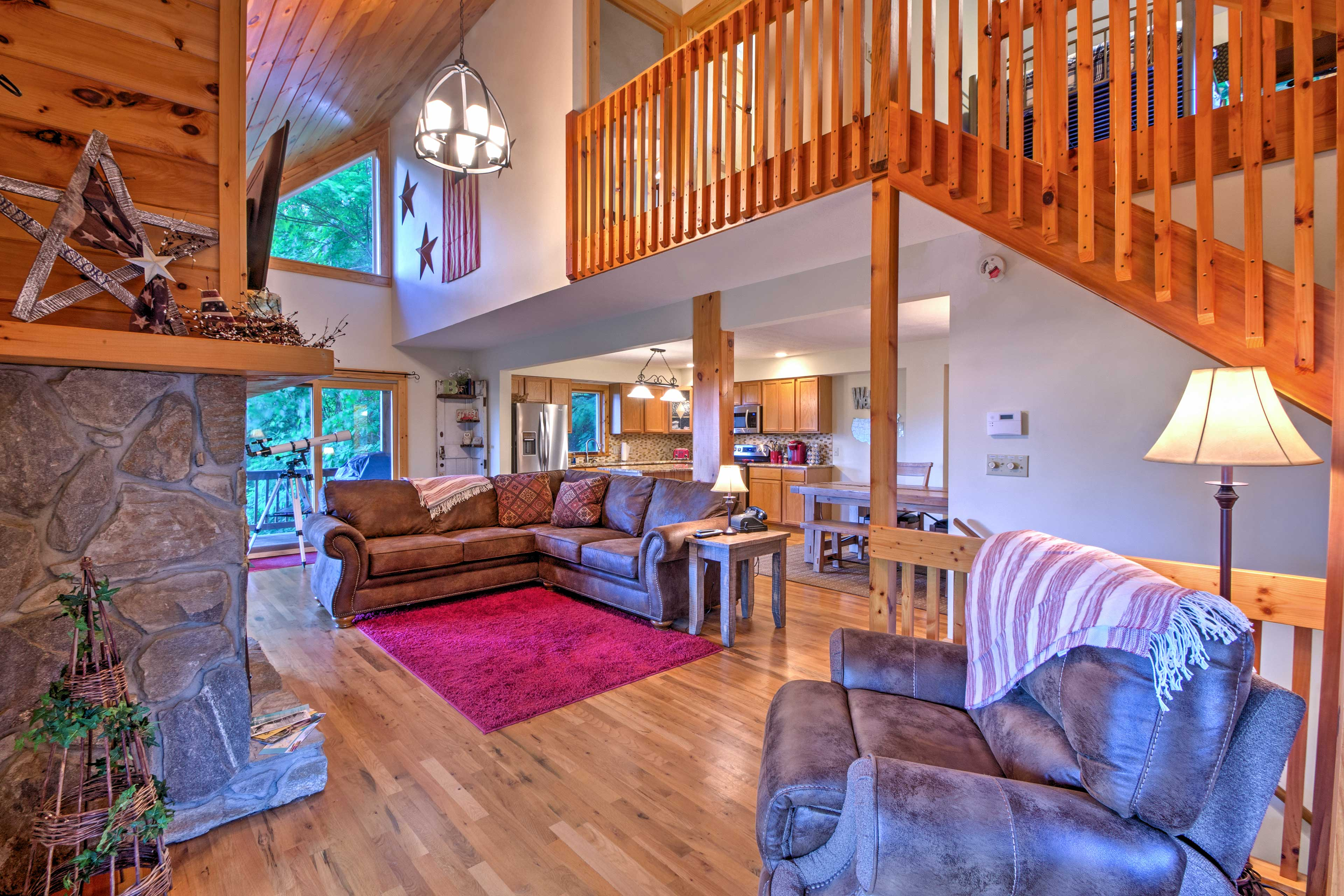 Unique decor and knotty pine accents add the the rustic ambiance.