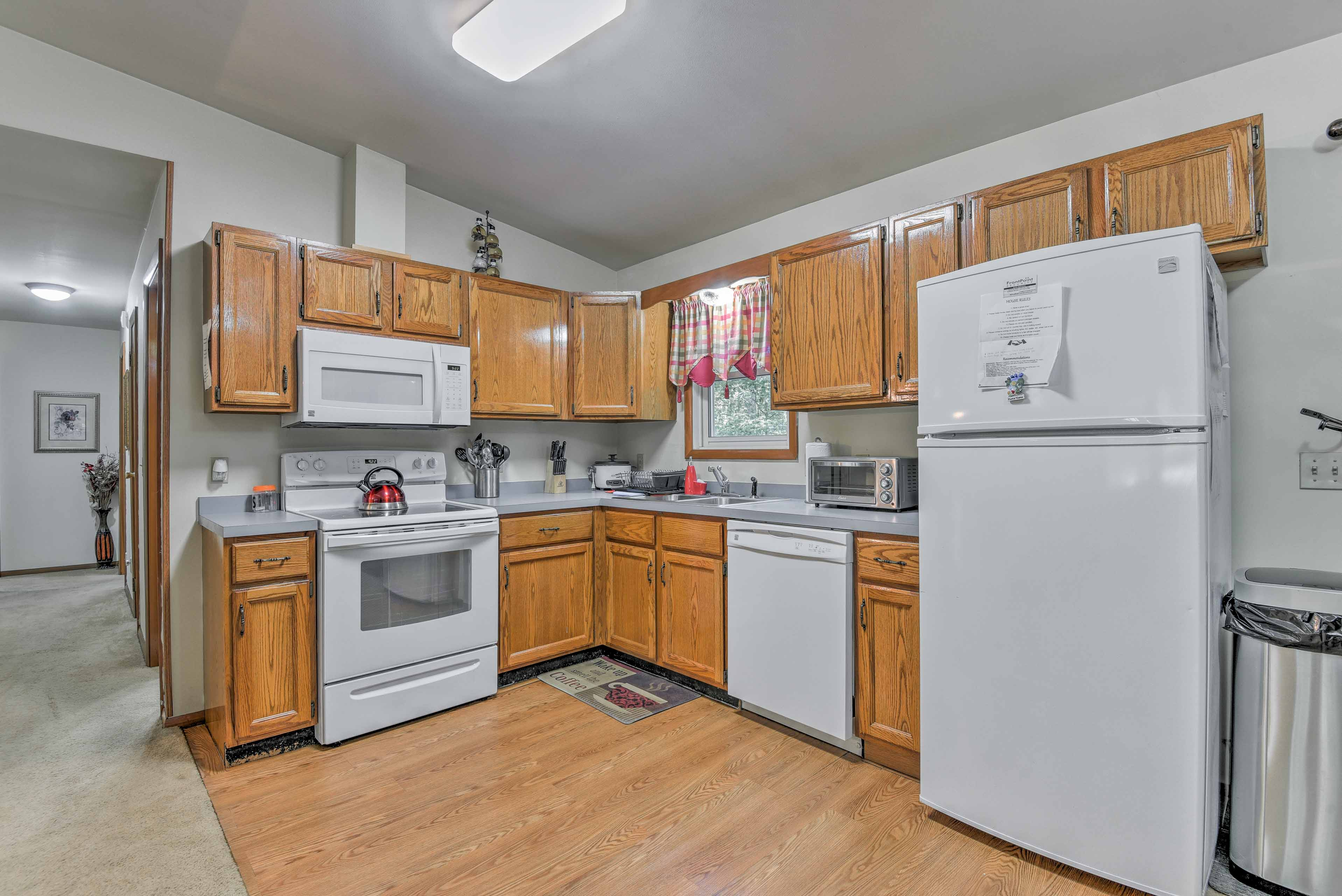 Prepare home-cooked meals in the fully equipped kitchen.