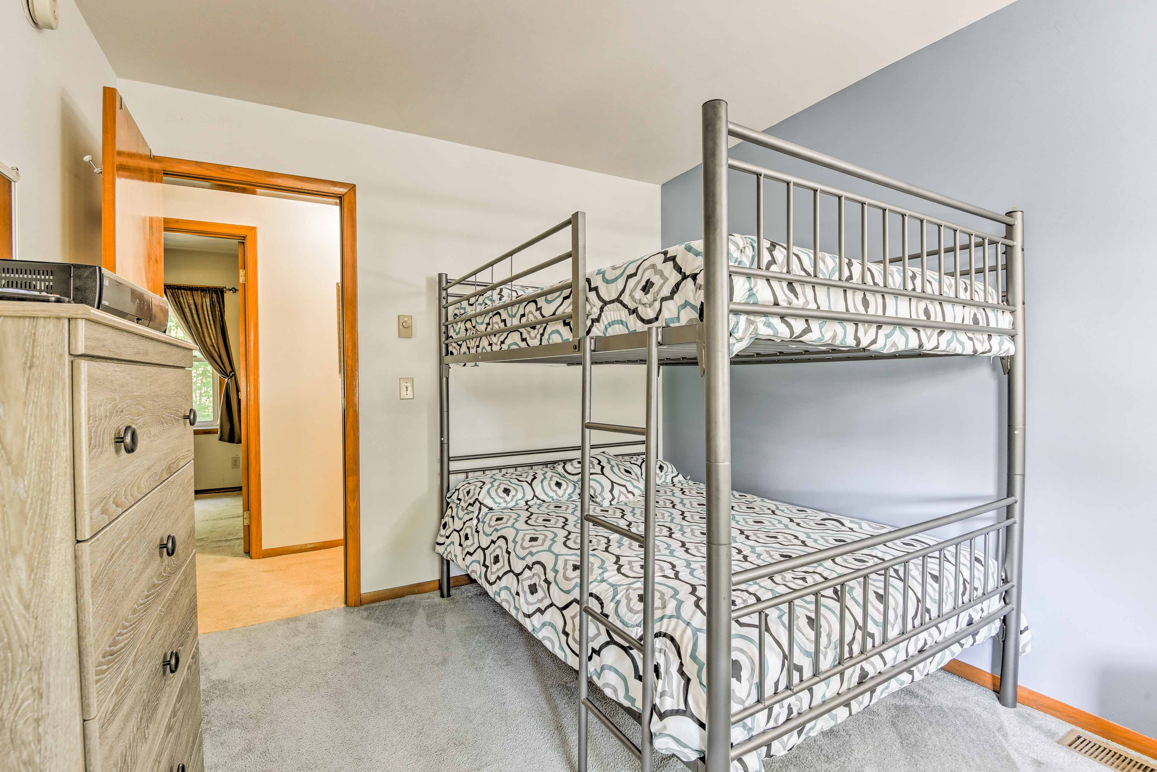 The bunk room is perfect for kids or 4 friends.