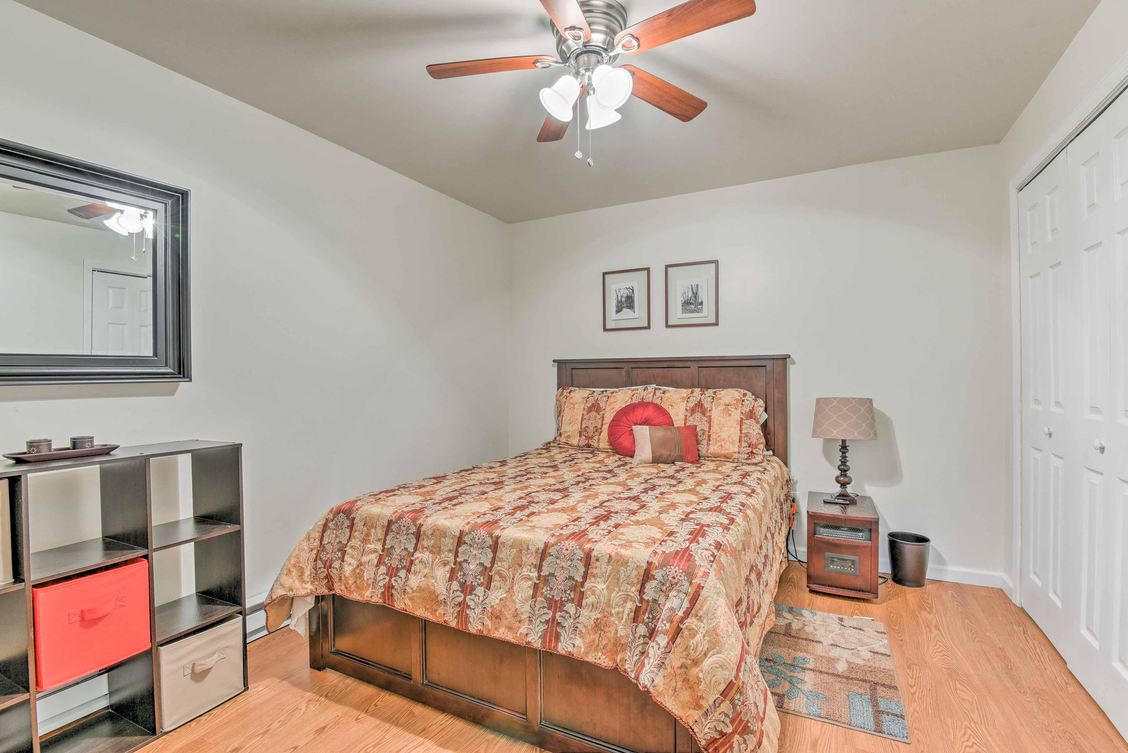 The basement bedroom sleeps 2.