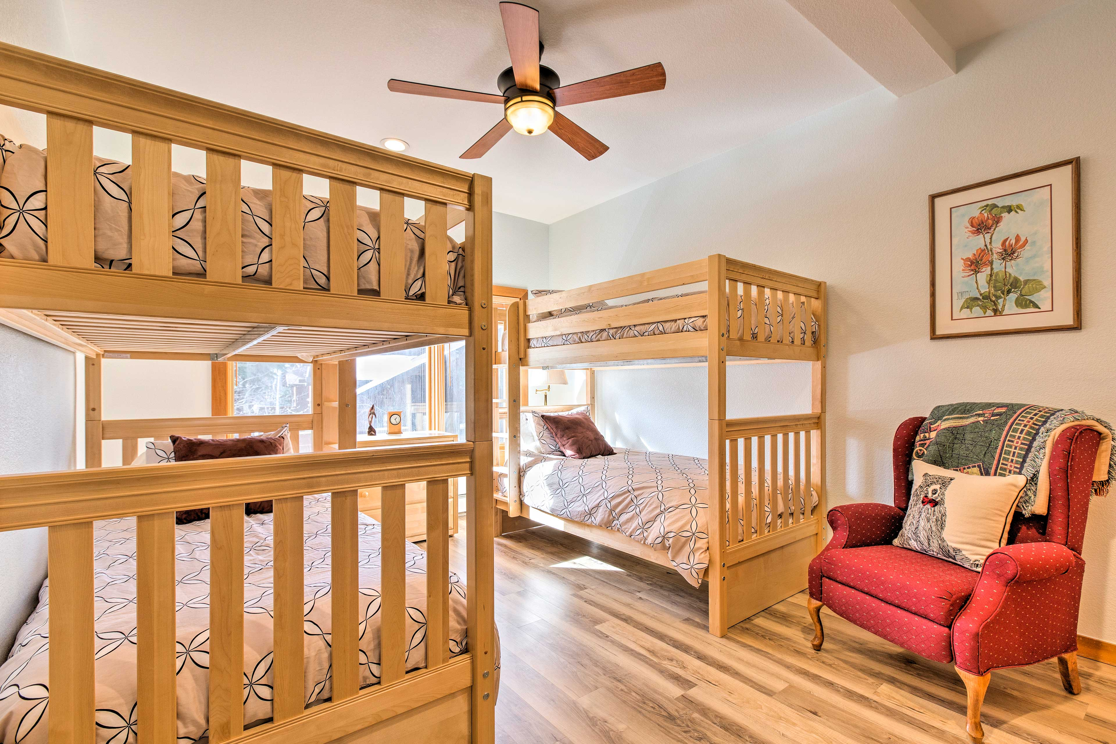 Kids can make their home base in this room with 2 XL Twin bunk beds.