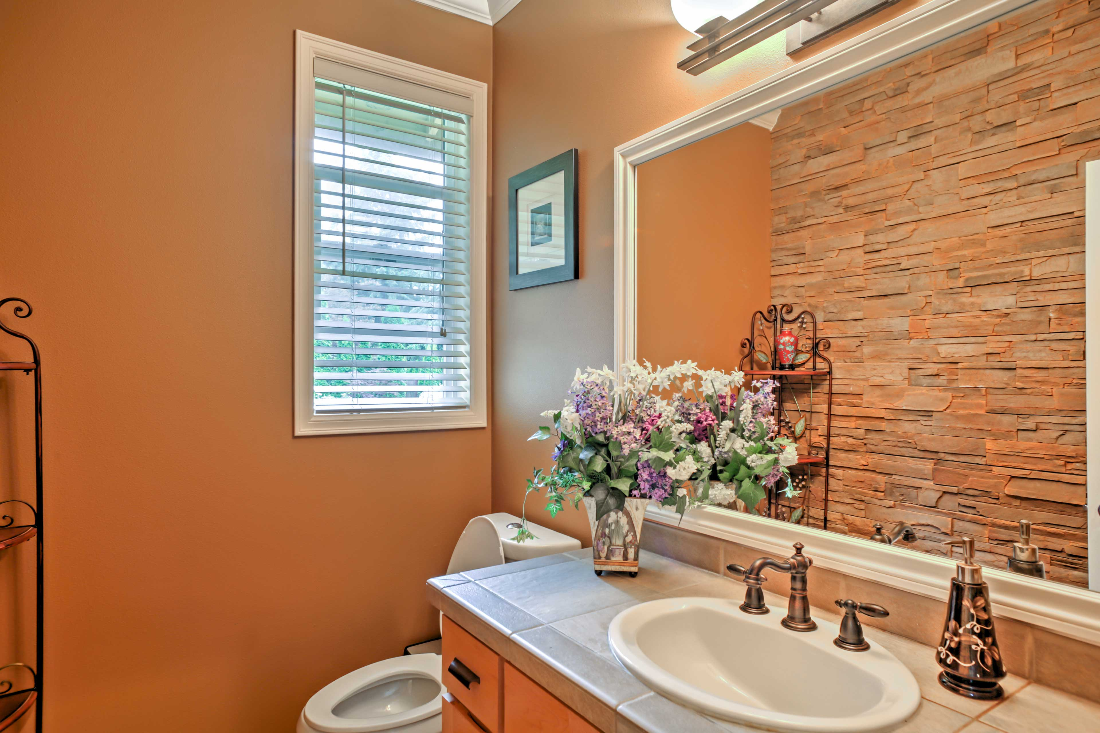 A lovely half bathroom can be found on the main level.