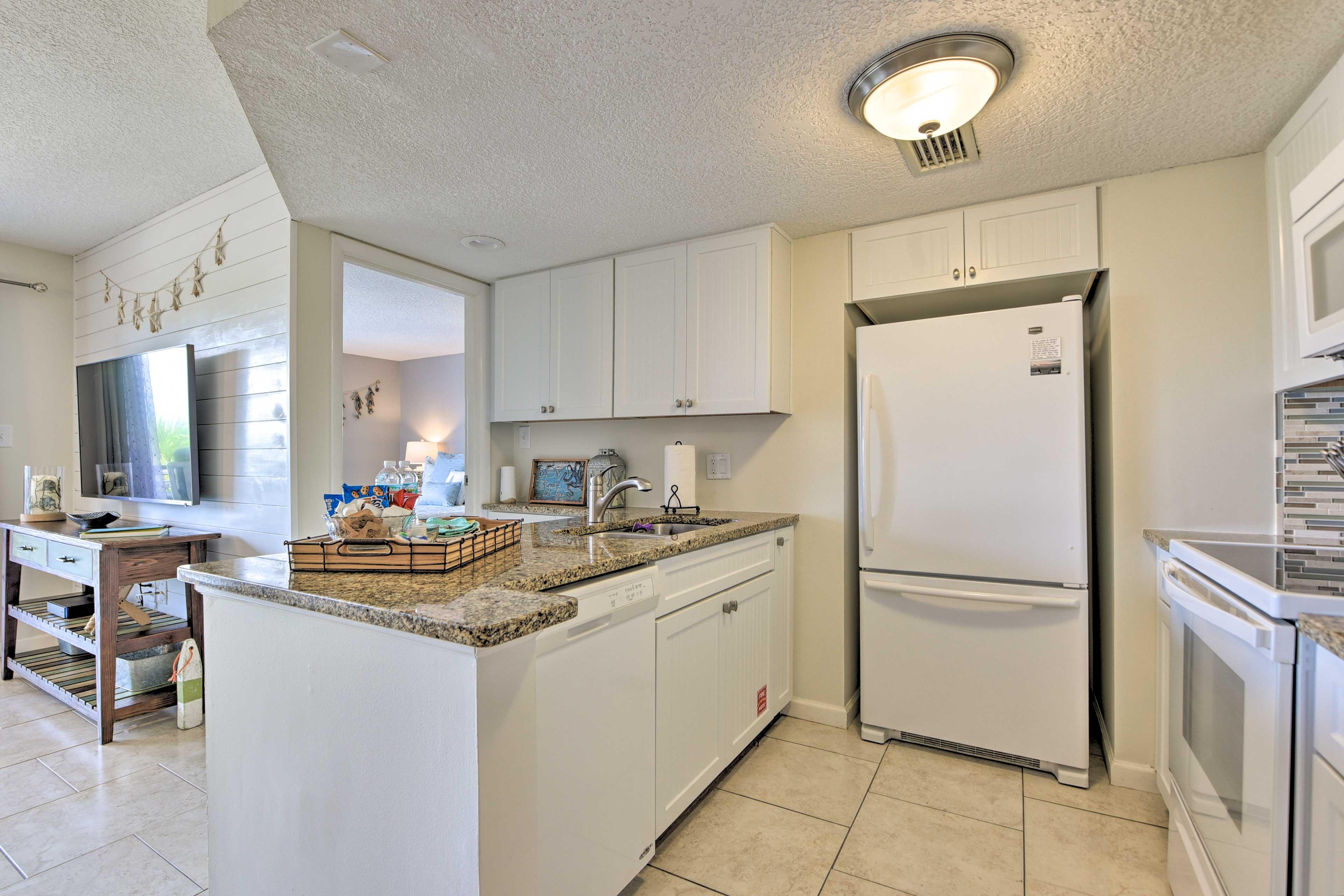 The full kitchen provides modern appliances.