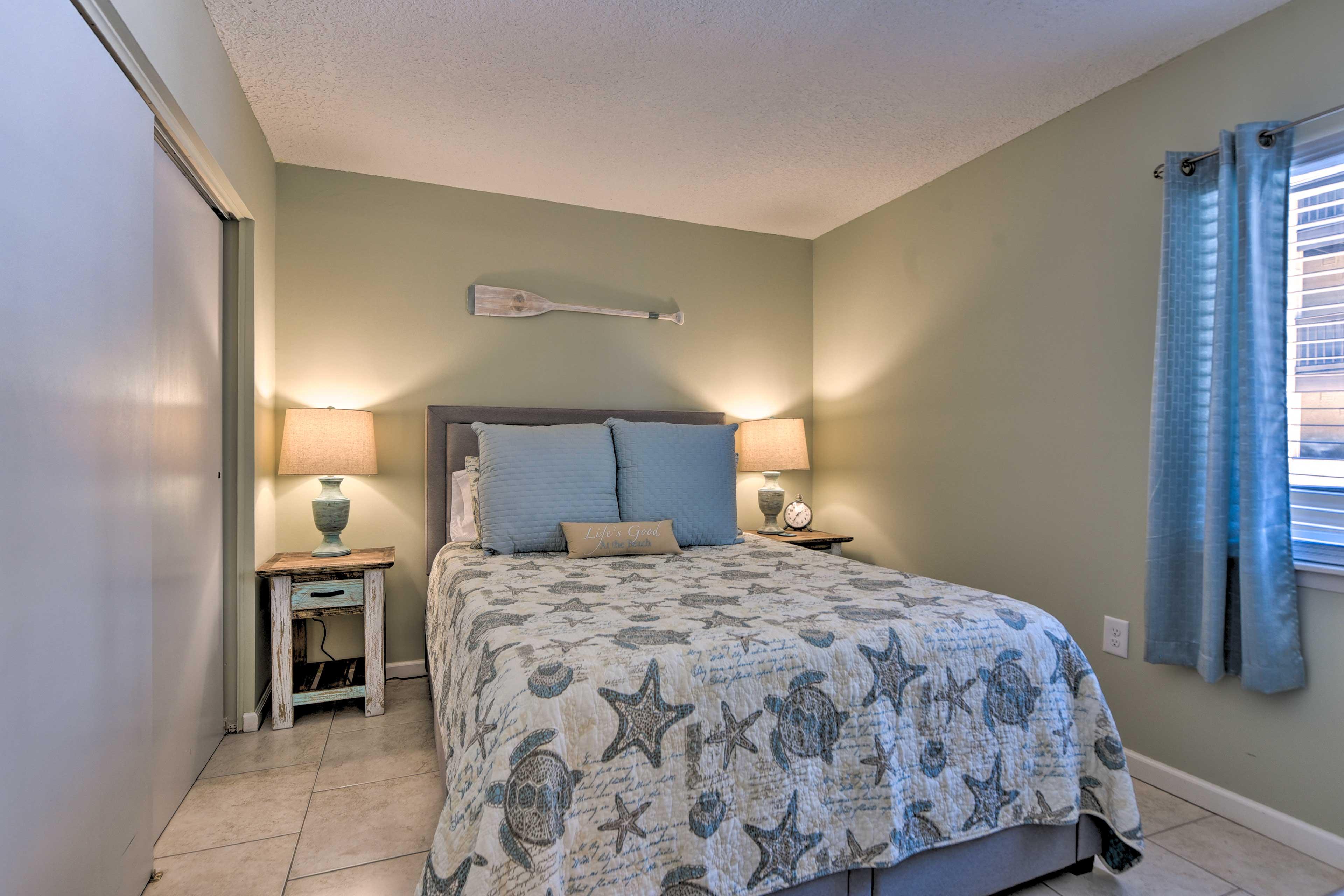This bedroom has been updated to now host a queen bed.