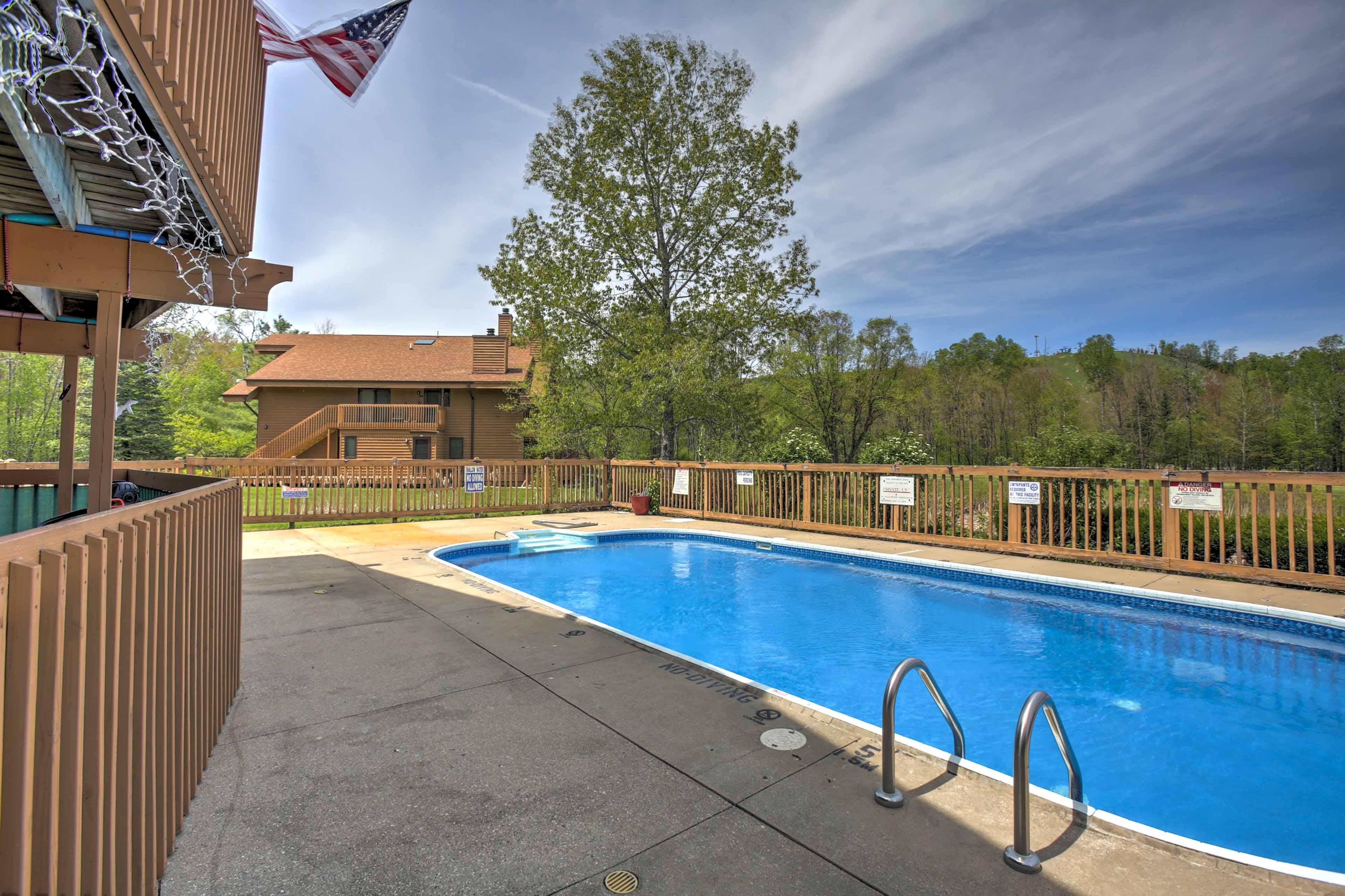 Take advantage of the seasonal resort amenities located around the complex.