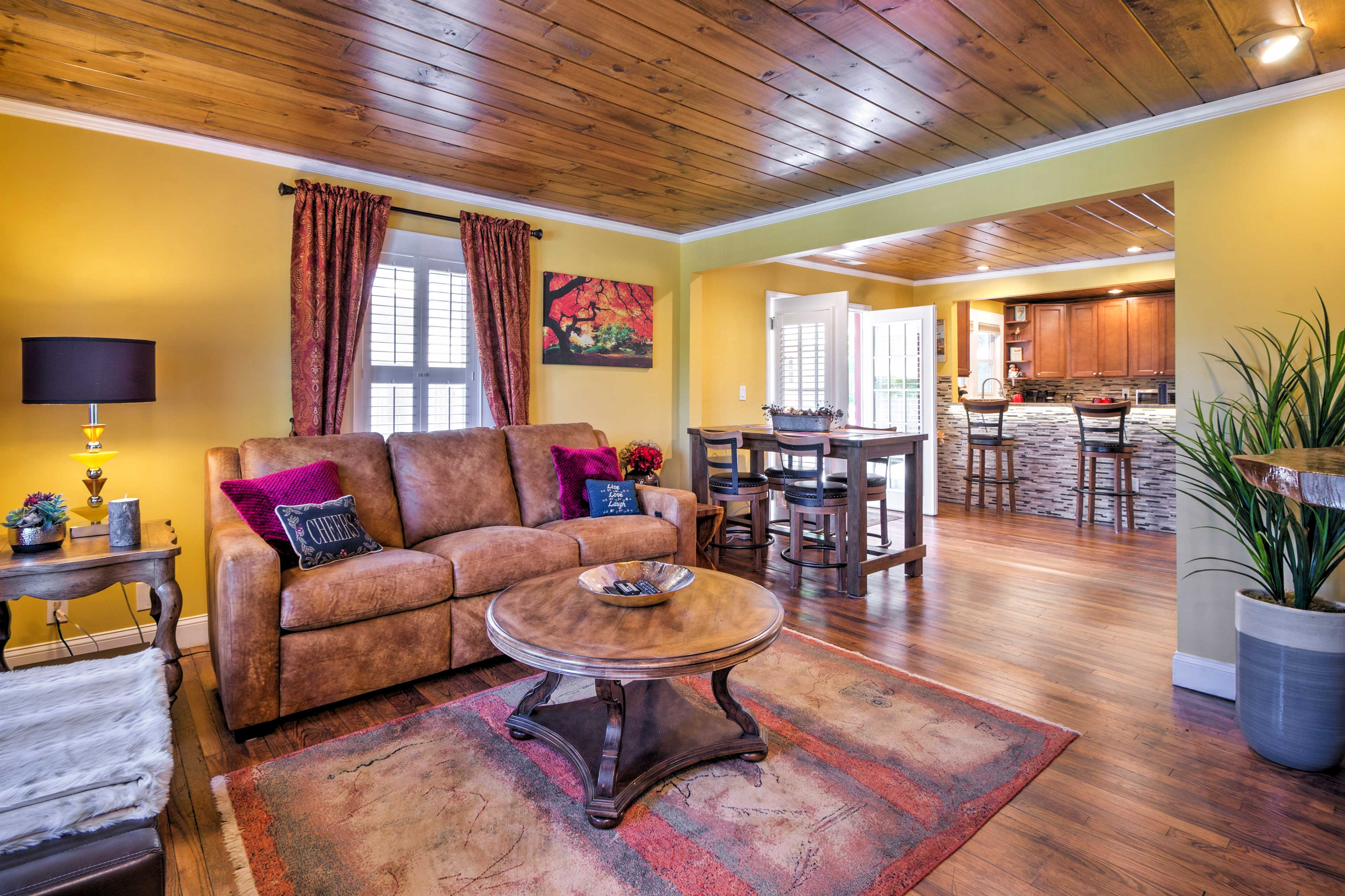 During your downtime, relax on the plush furniture in the living room.