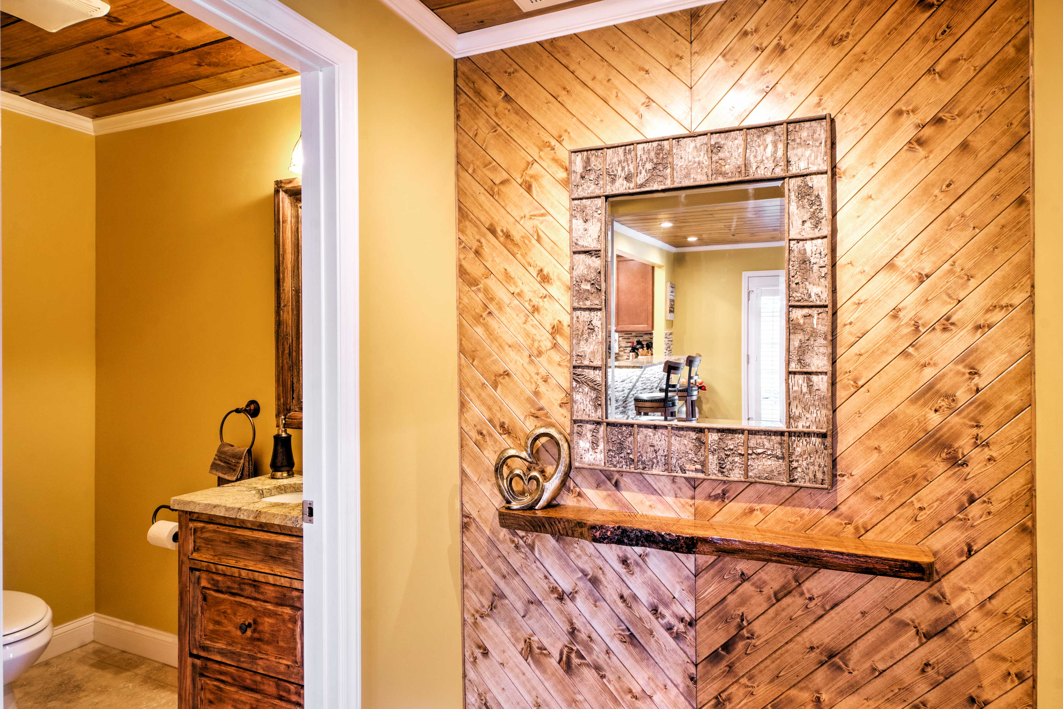 Rustic decor evokes a peaceful ambiance throughout the home.