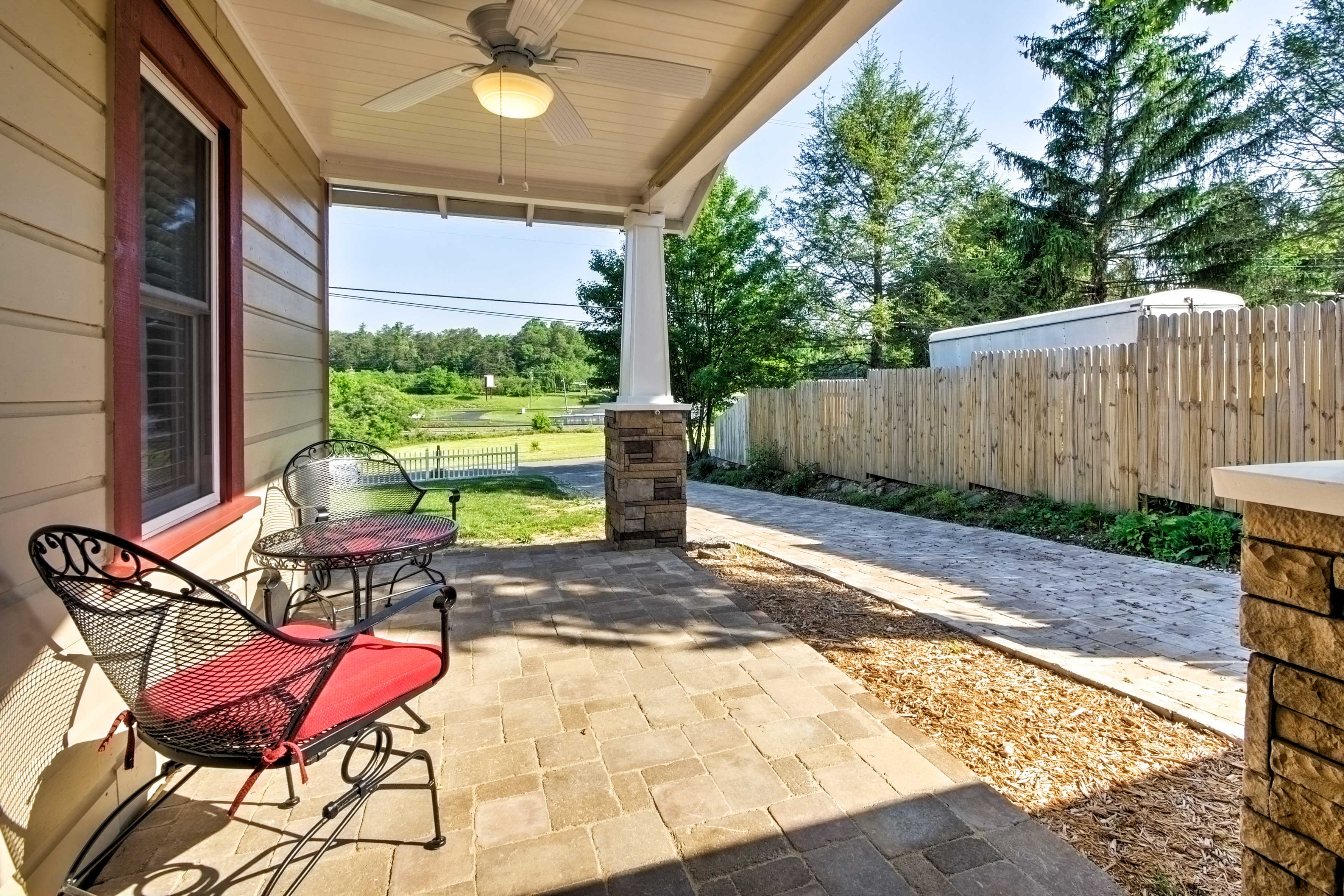 Early risers will look forward to sipping their morning coffee outside on the covered patio.