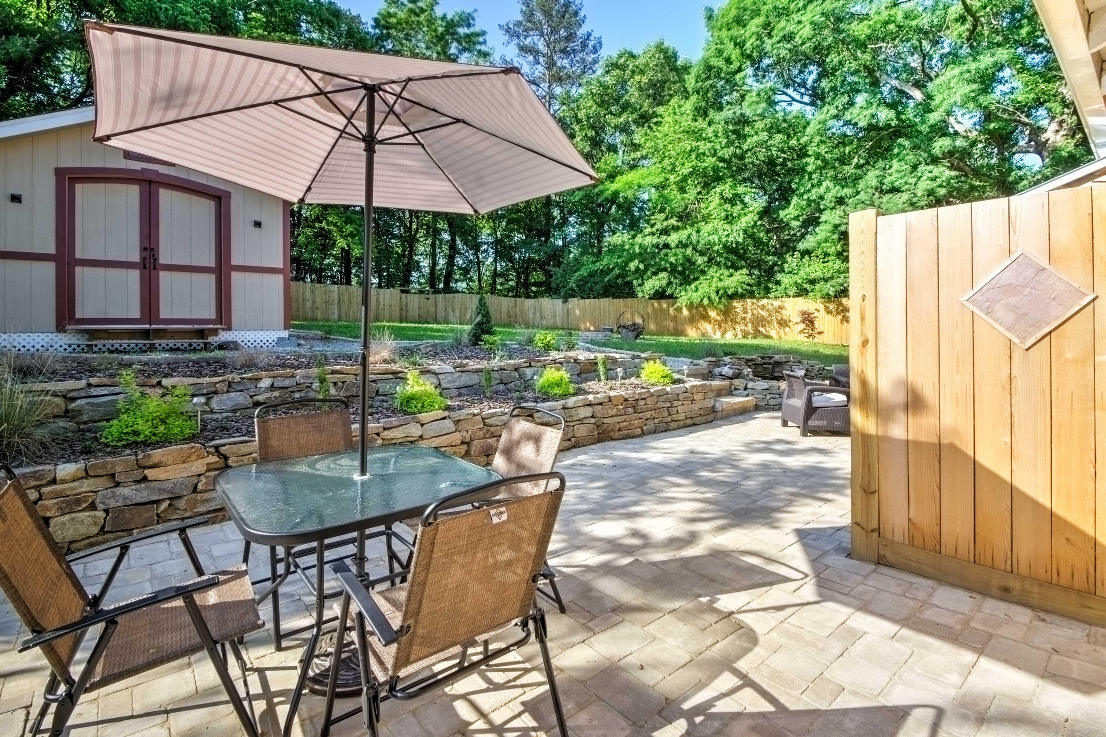 Dine al fresco in your private outdoor oasis.