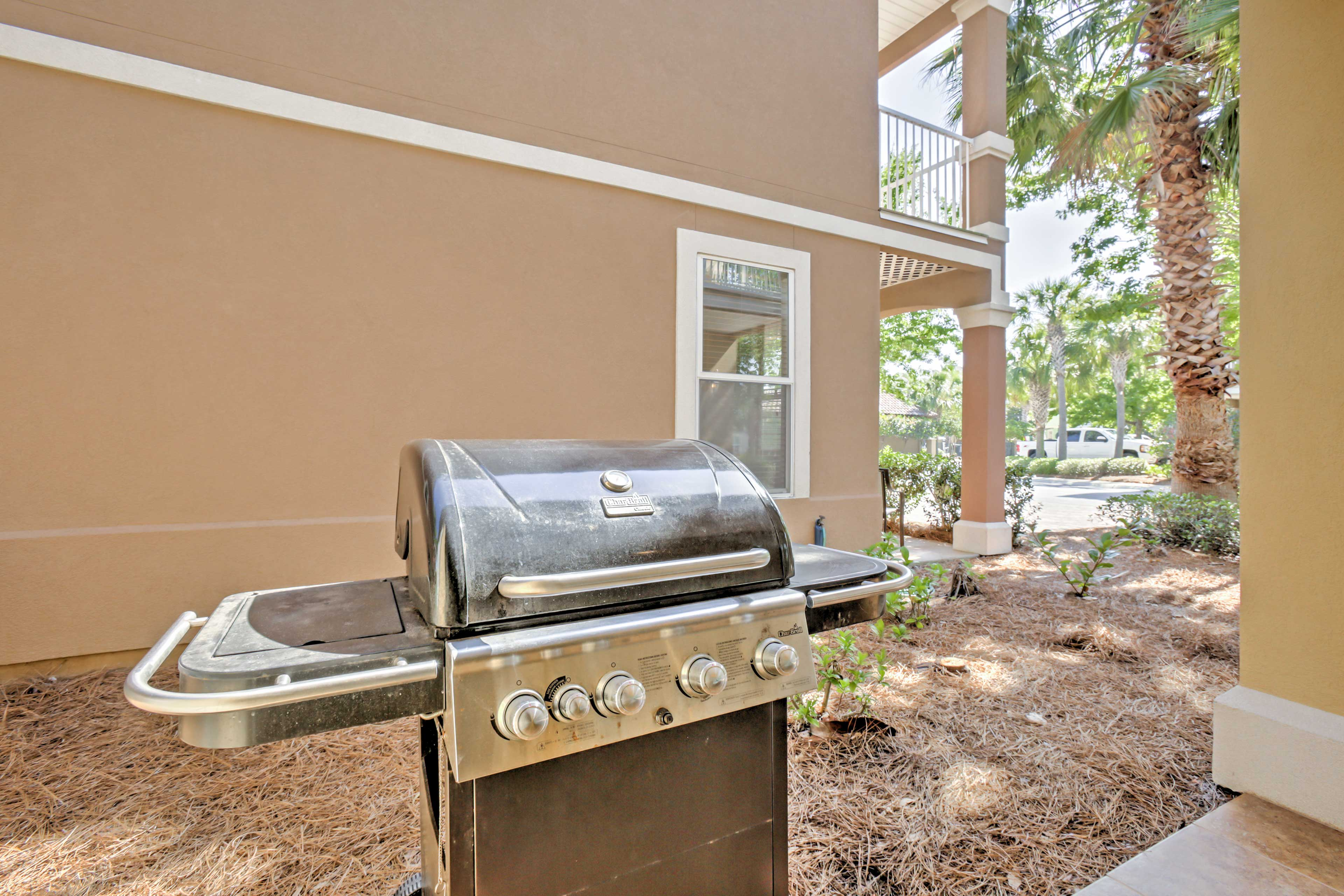Utilize the outdoor grill at the house.
