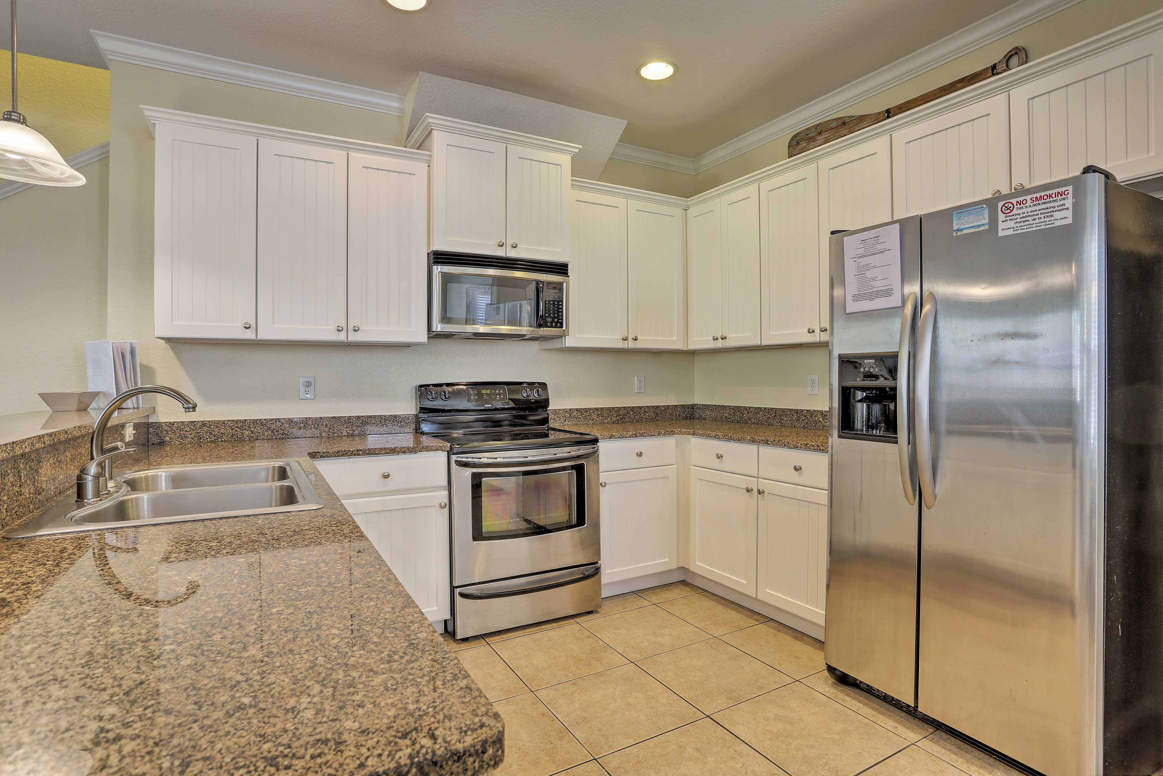 Prepare your favorite recipes in the modern, fully equipped kitchen.
