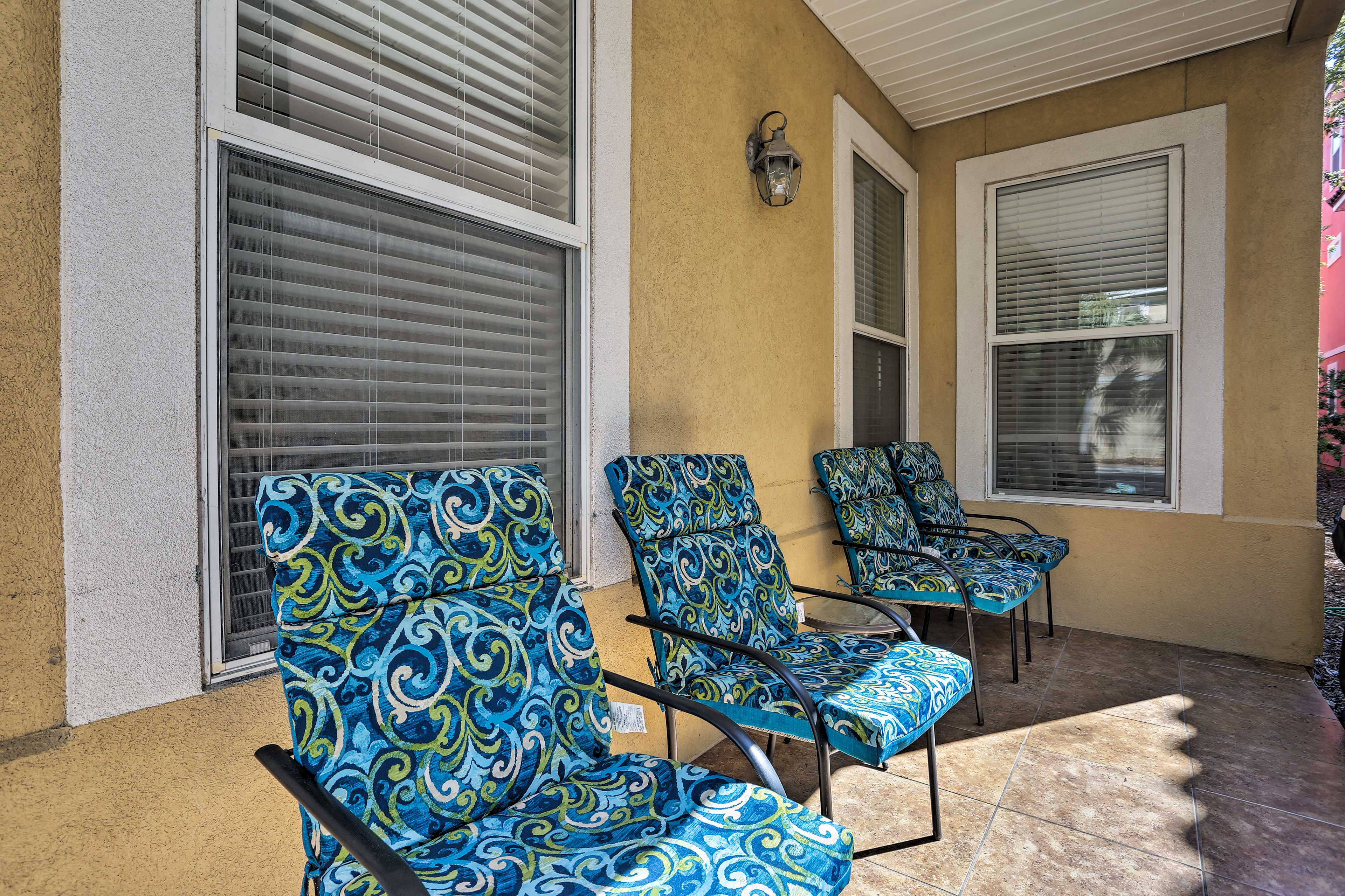 The patio is complete with 4 lounge chairs.