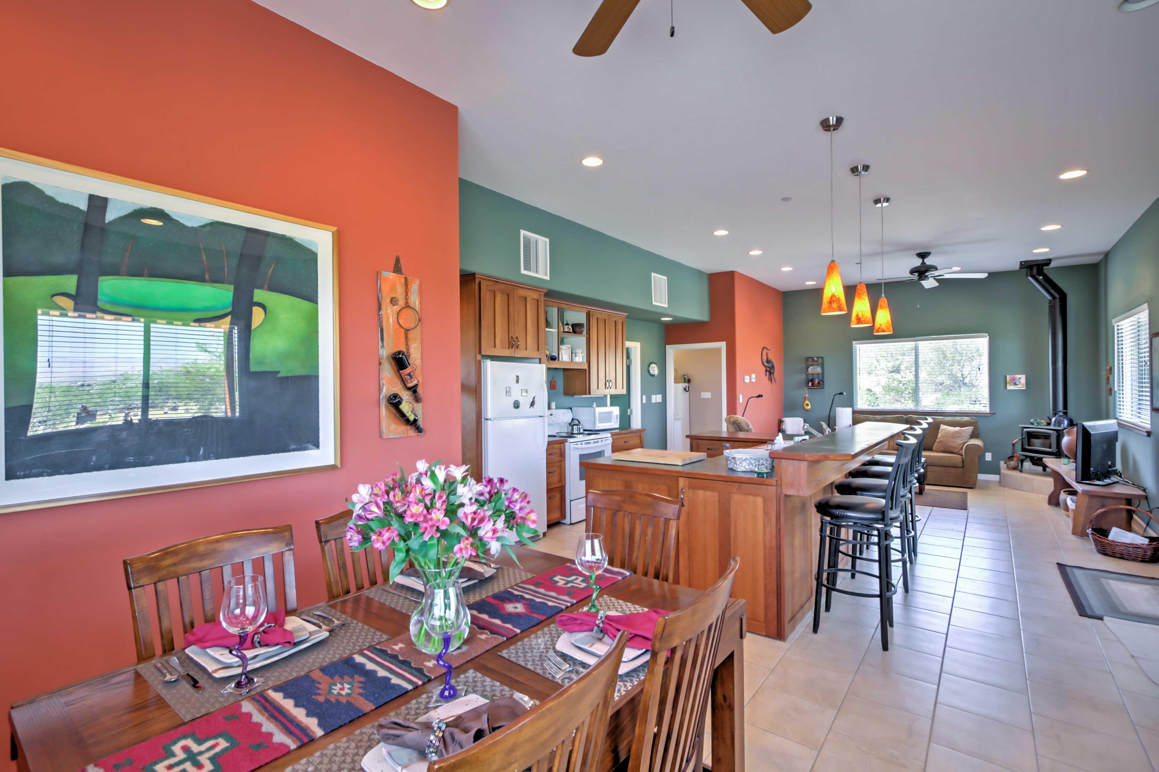 Vibrant colors, natural light, and southwestern decor fill the interior.