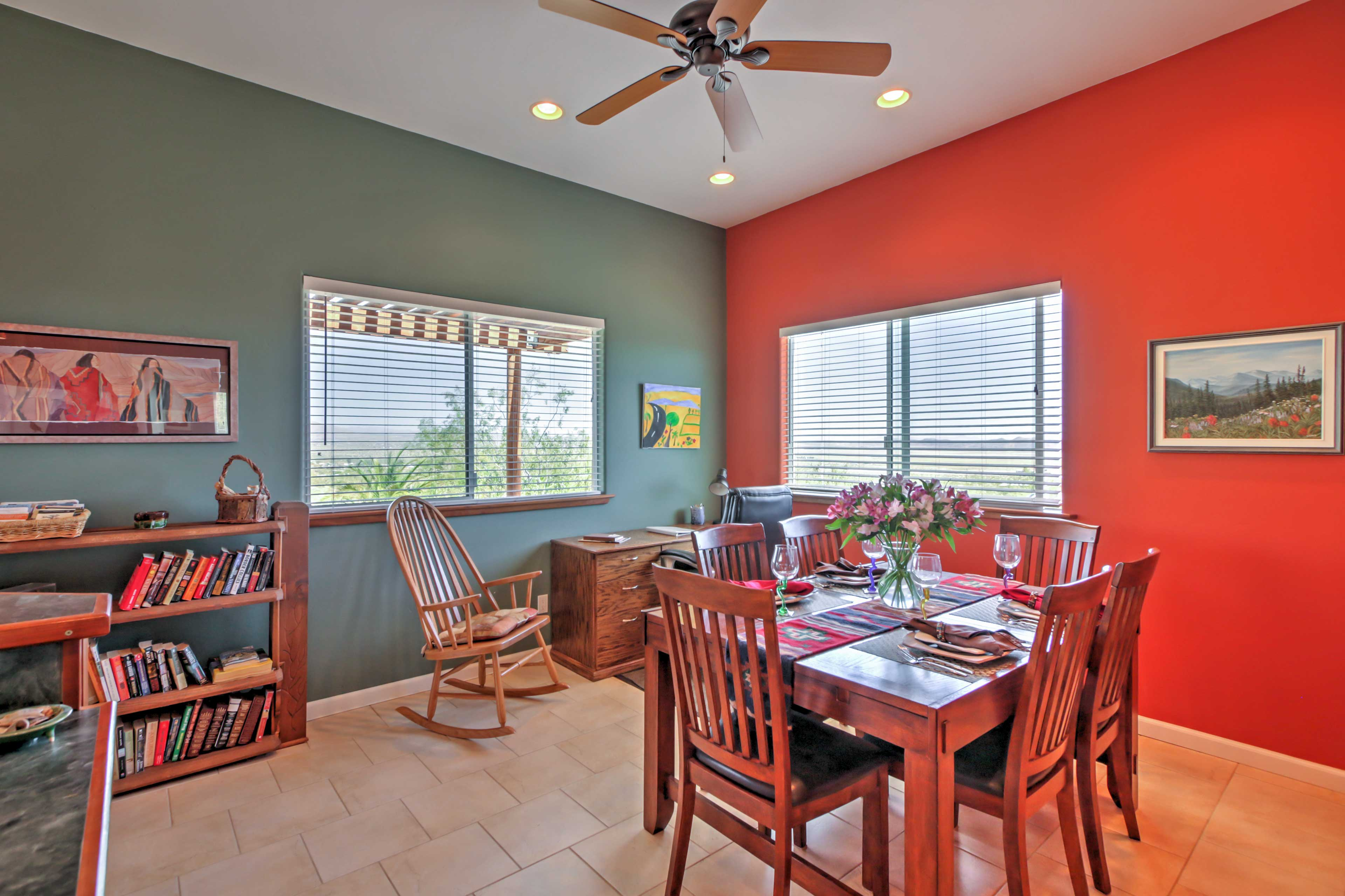 Enjoy home-cooked meals at the dining table set for 6.