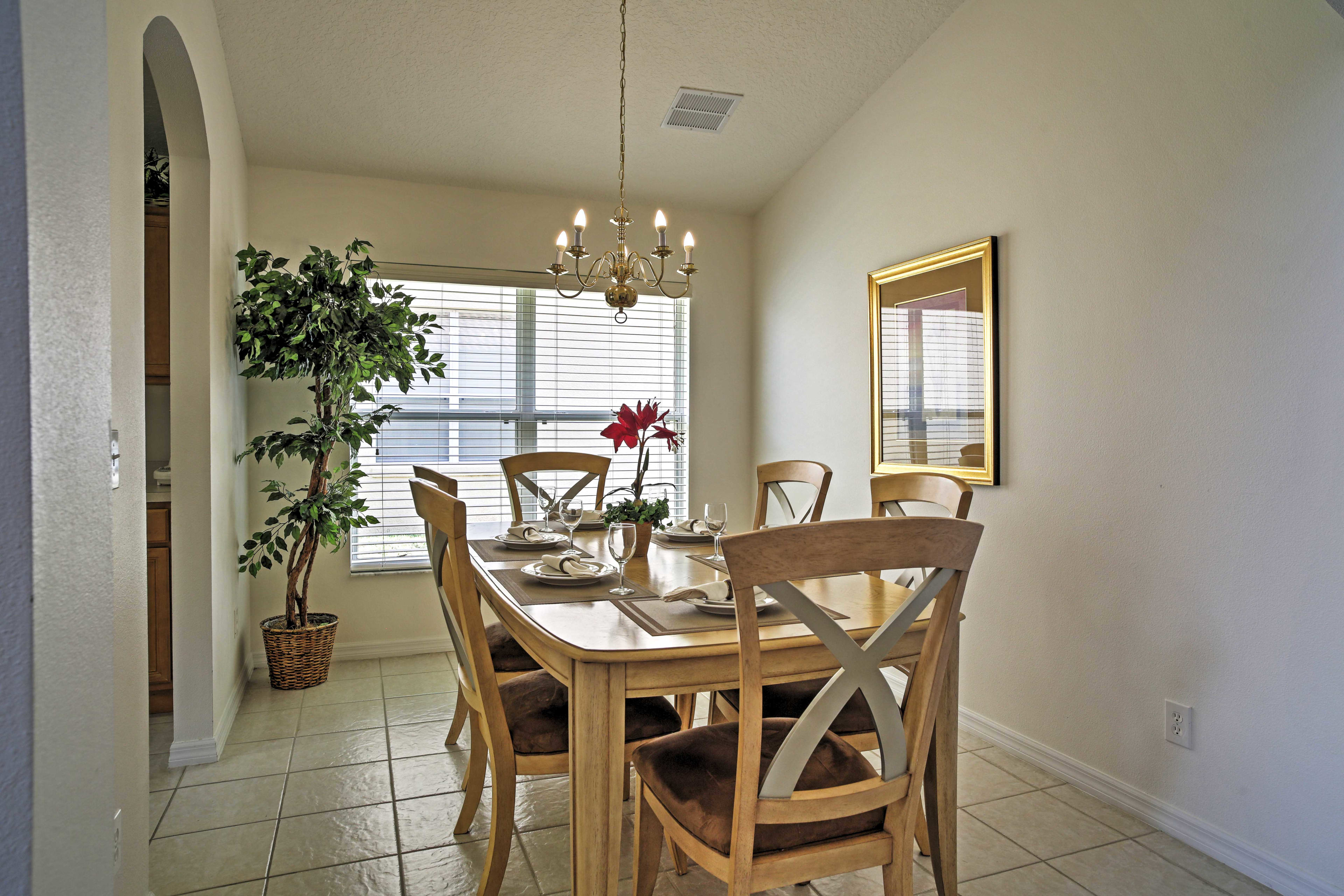 Enjoy a home-cooked feast with the whole group in this elegant dining area.