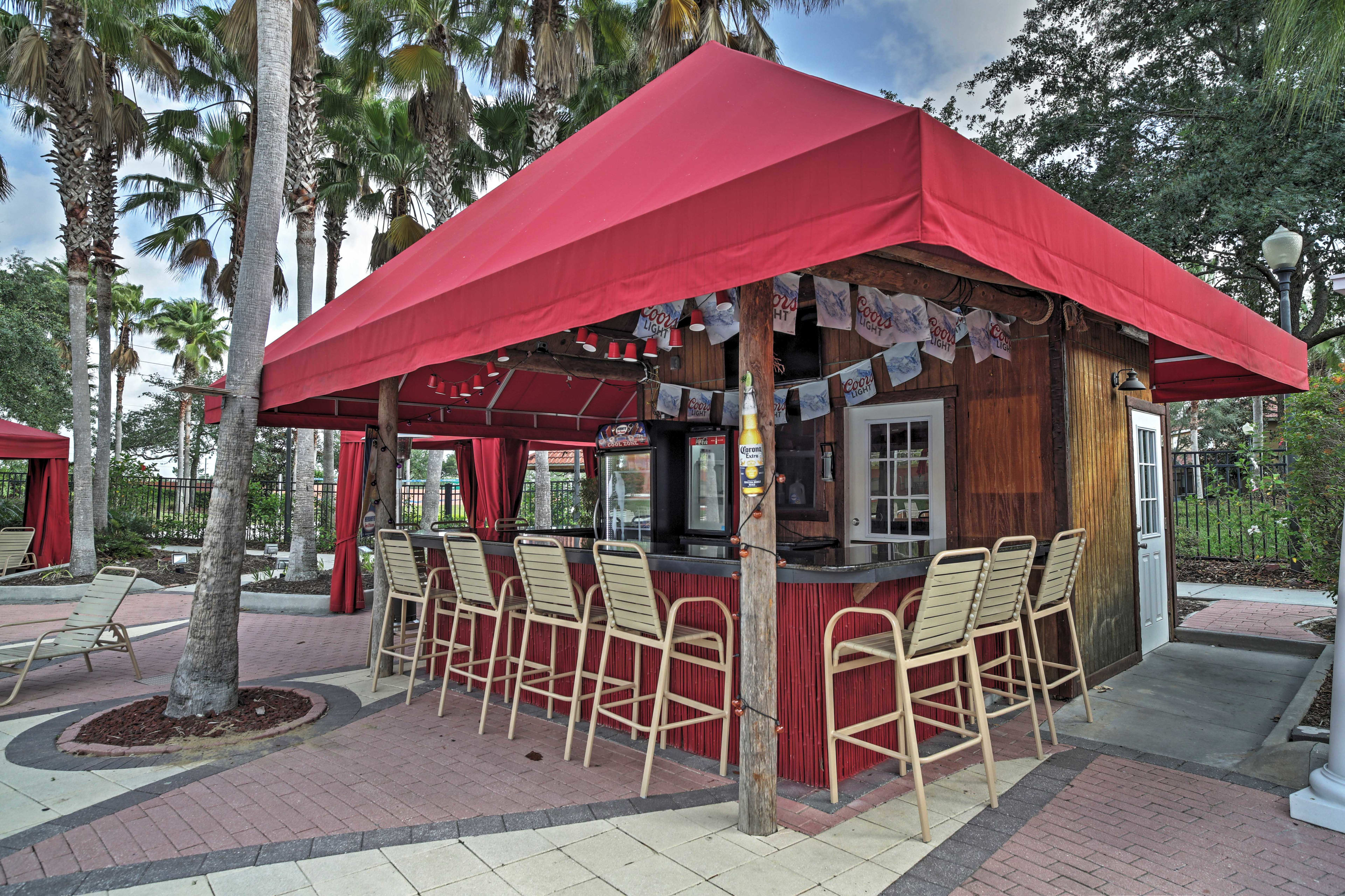 Grab a drink at the outdoor bar.