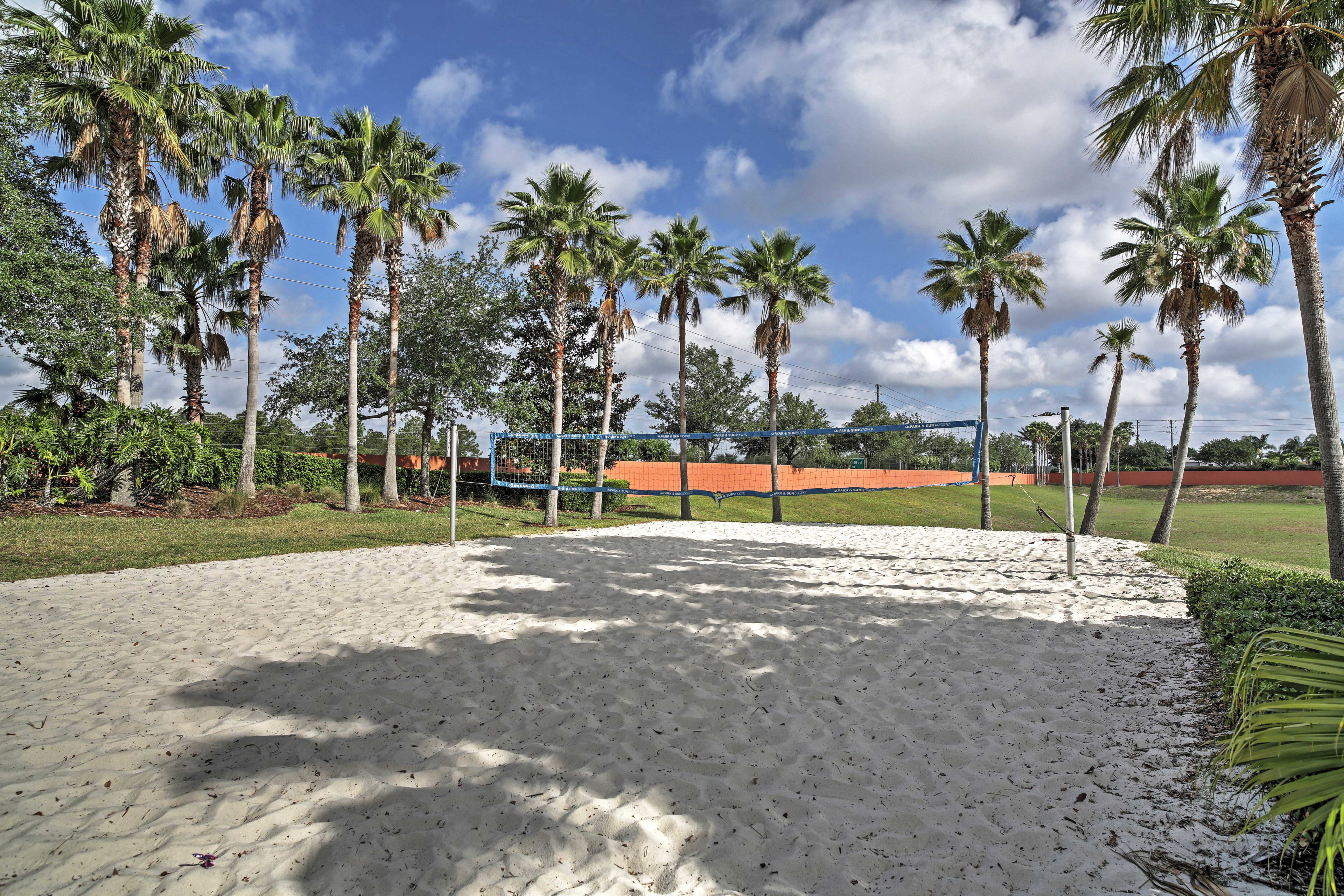 Gather your friends and family for a volleyball tournament.