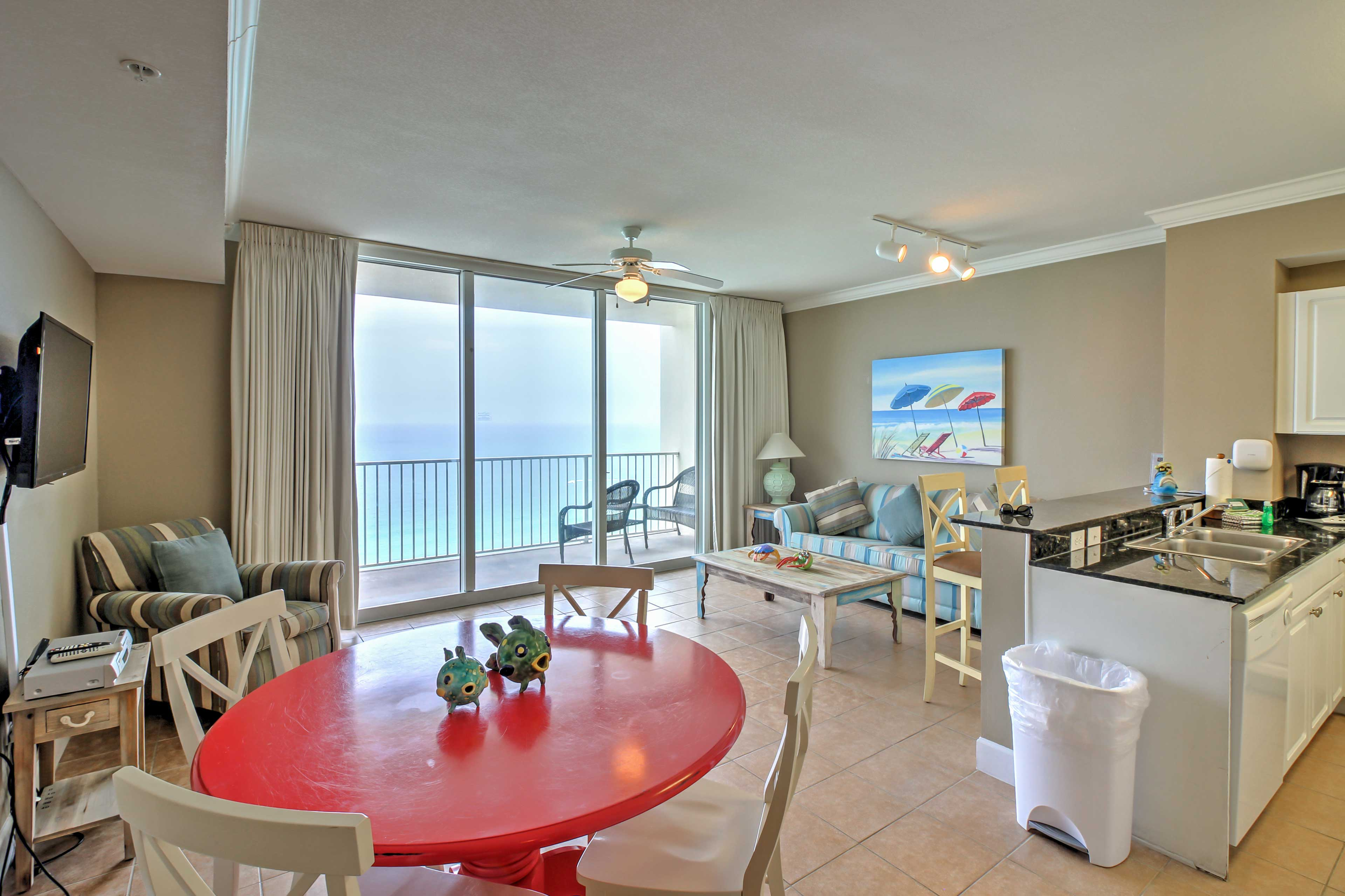 The spacious family room is filled with sunlight on gorgeous Florida afternoons.