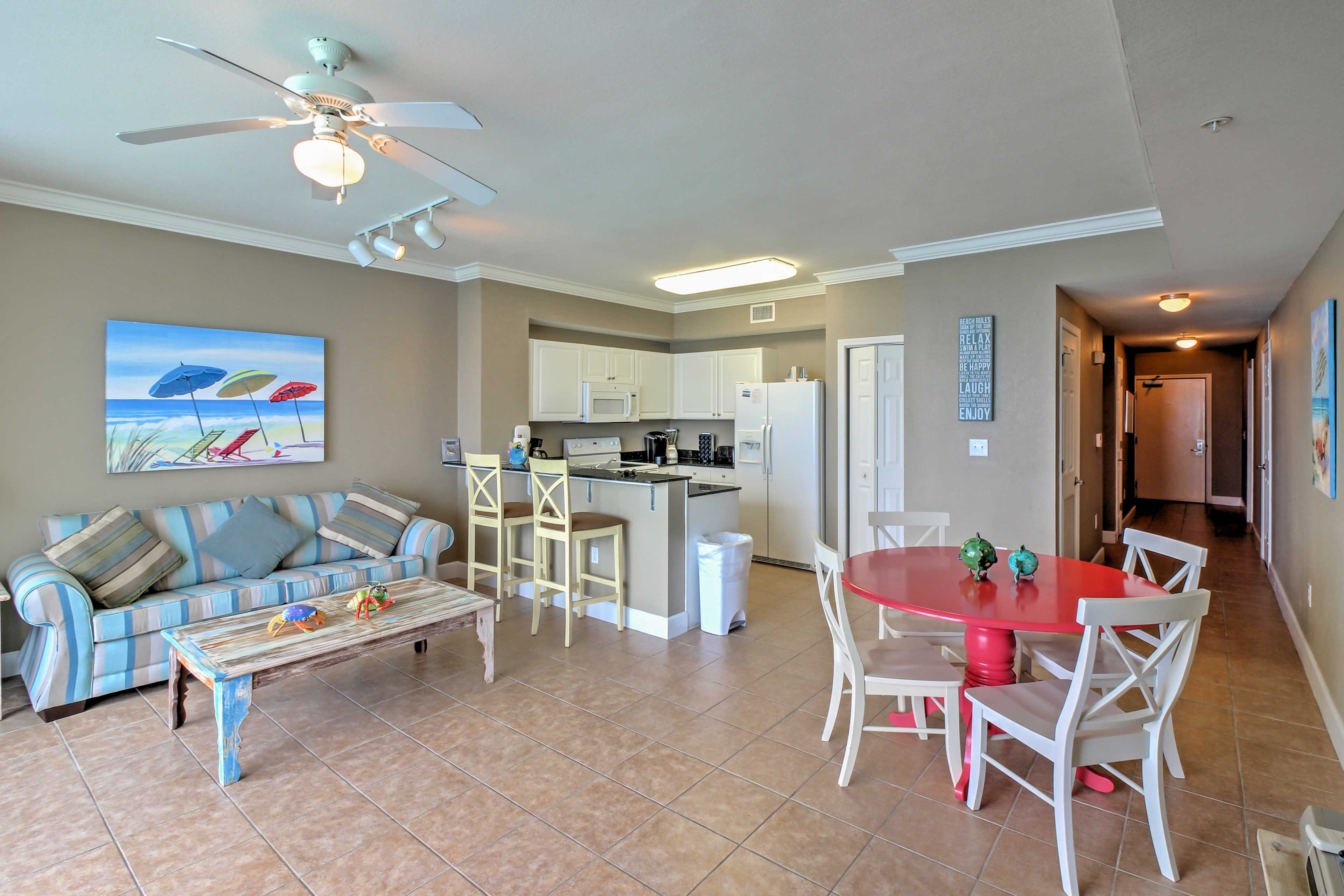 The unit boasts nearly 1,000 square feet of bright and airy living space.