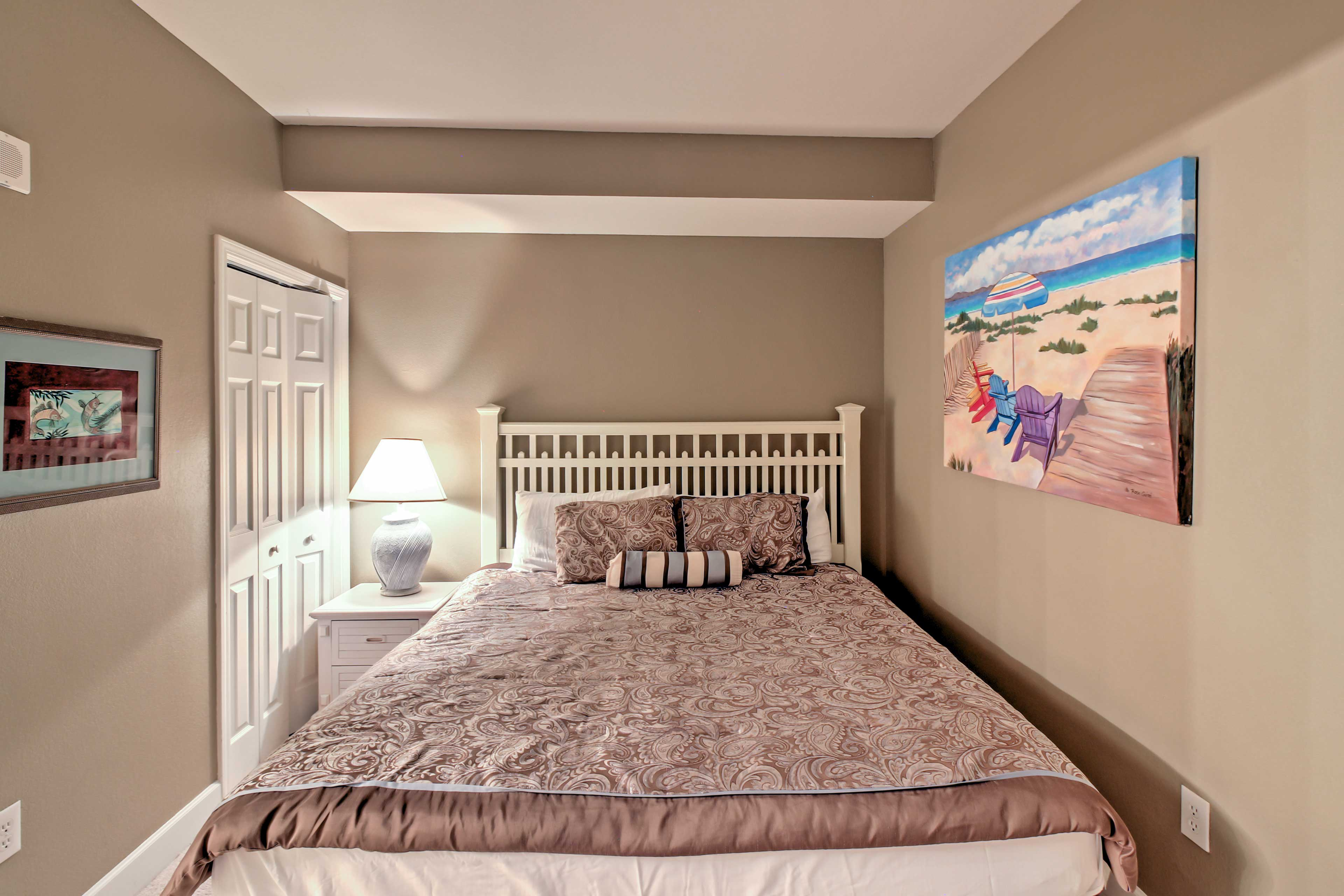 Two guests will sleep comfortably in the master bedroom with a king-sized bed.