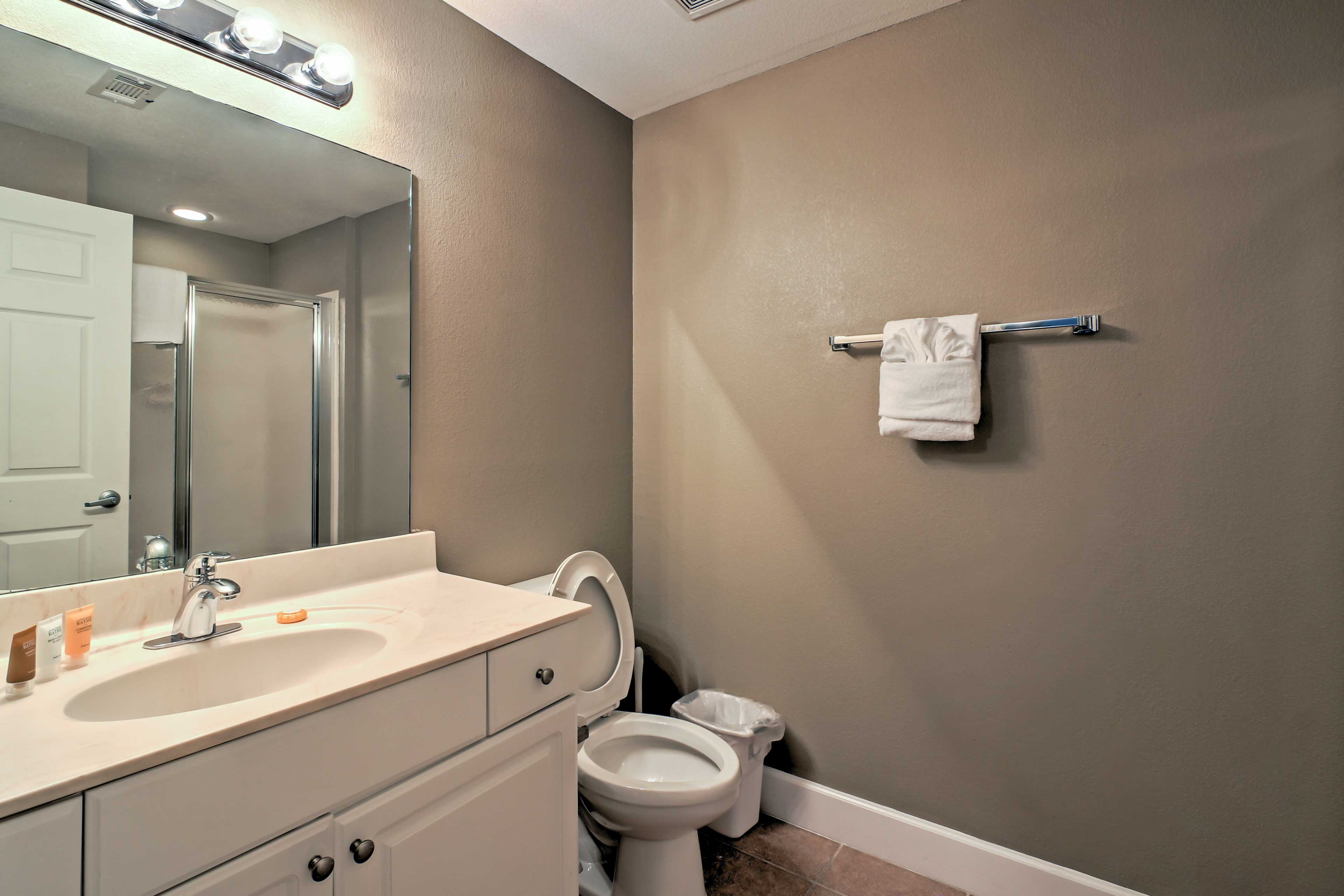 Both bathrooms have all of the towels and linens you'll need during your stay.