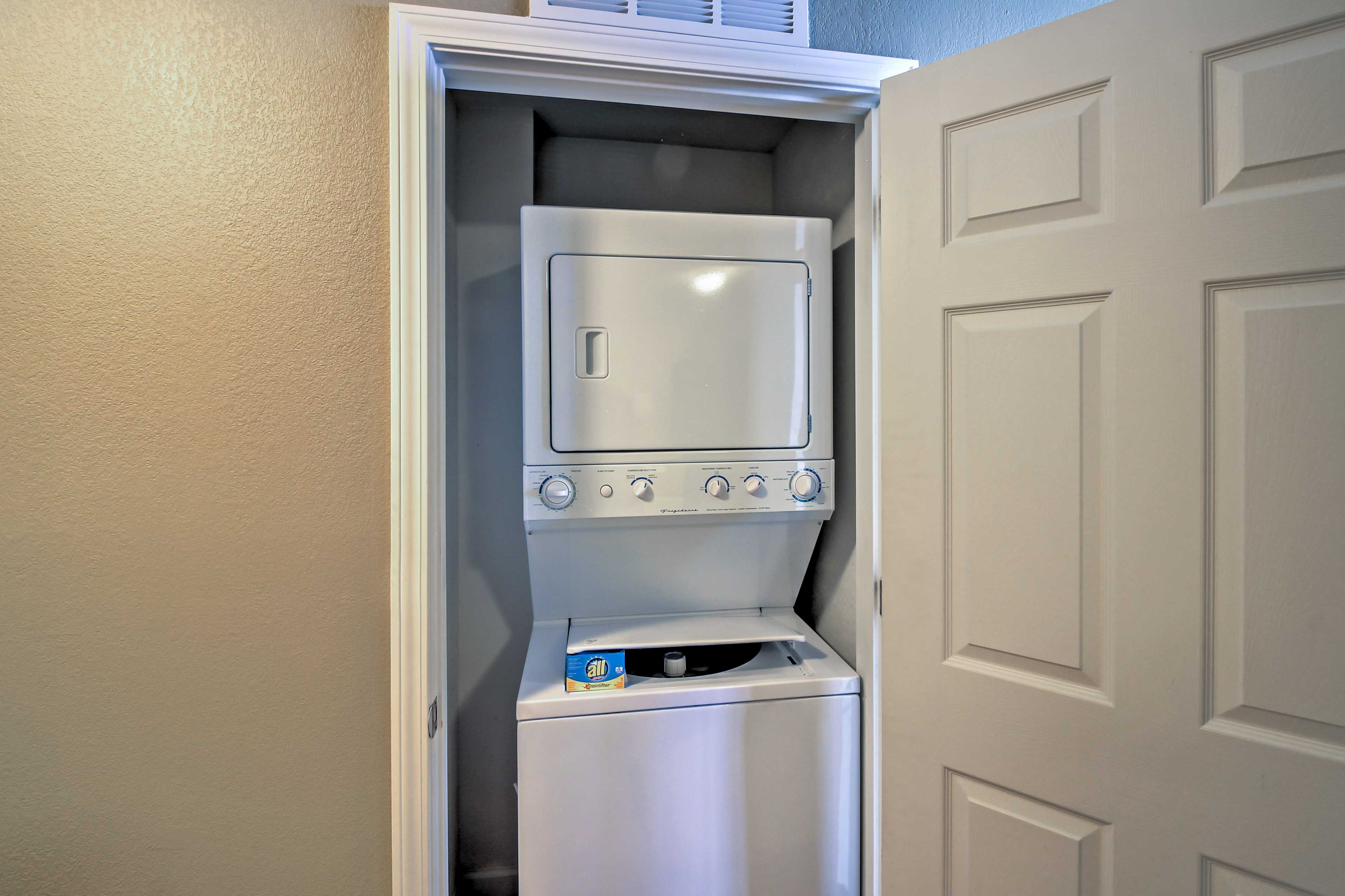 Keep your clothes clean during your vacation with the in-unit laundry machines.