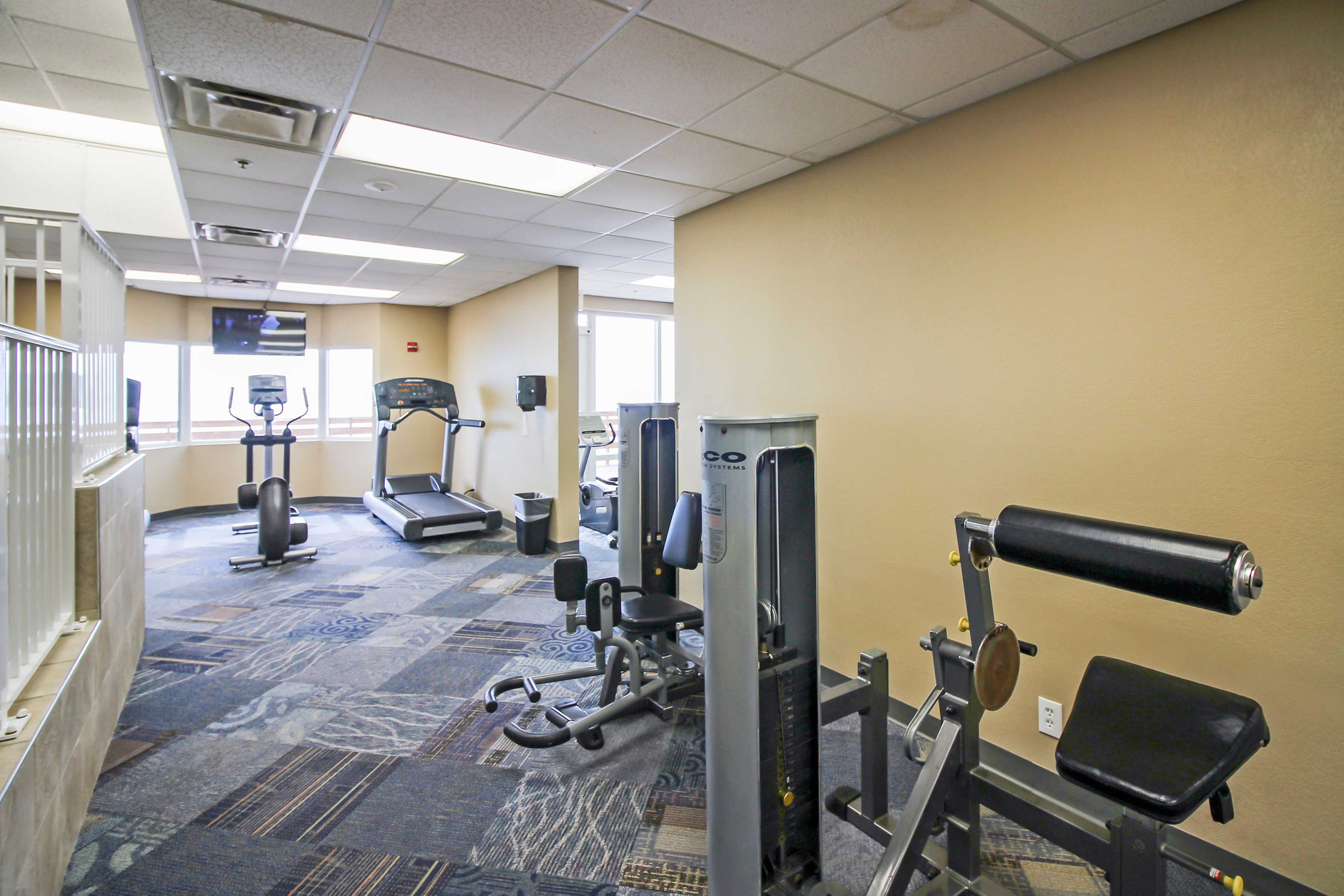 Hit the fitness center to stay in shape during your trip!