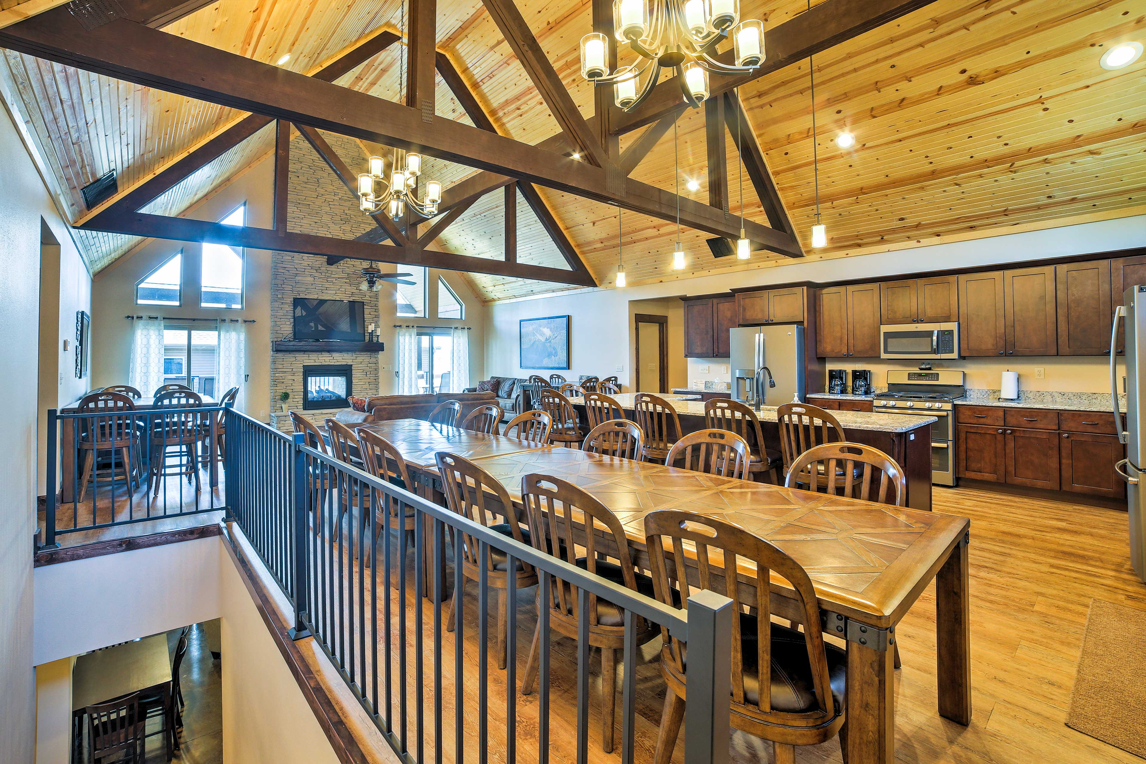 Eat in at this long dining room table with seating for 12.
